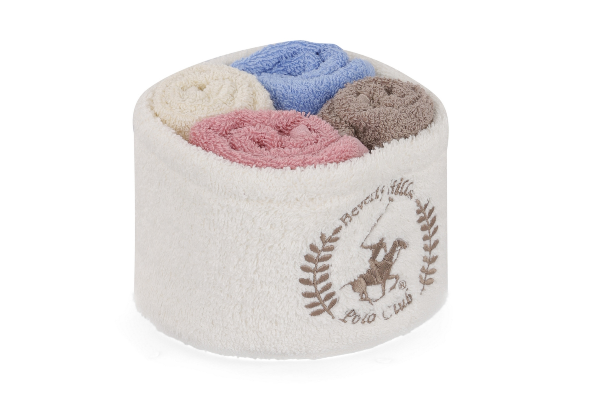 Set 4 prosoape baie din bumbac, Beverly Hills Polo Club Alinda Alb V07 / Mix 4 culori, 30 x 30 cm