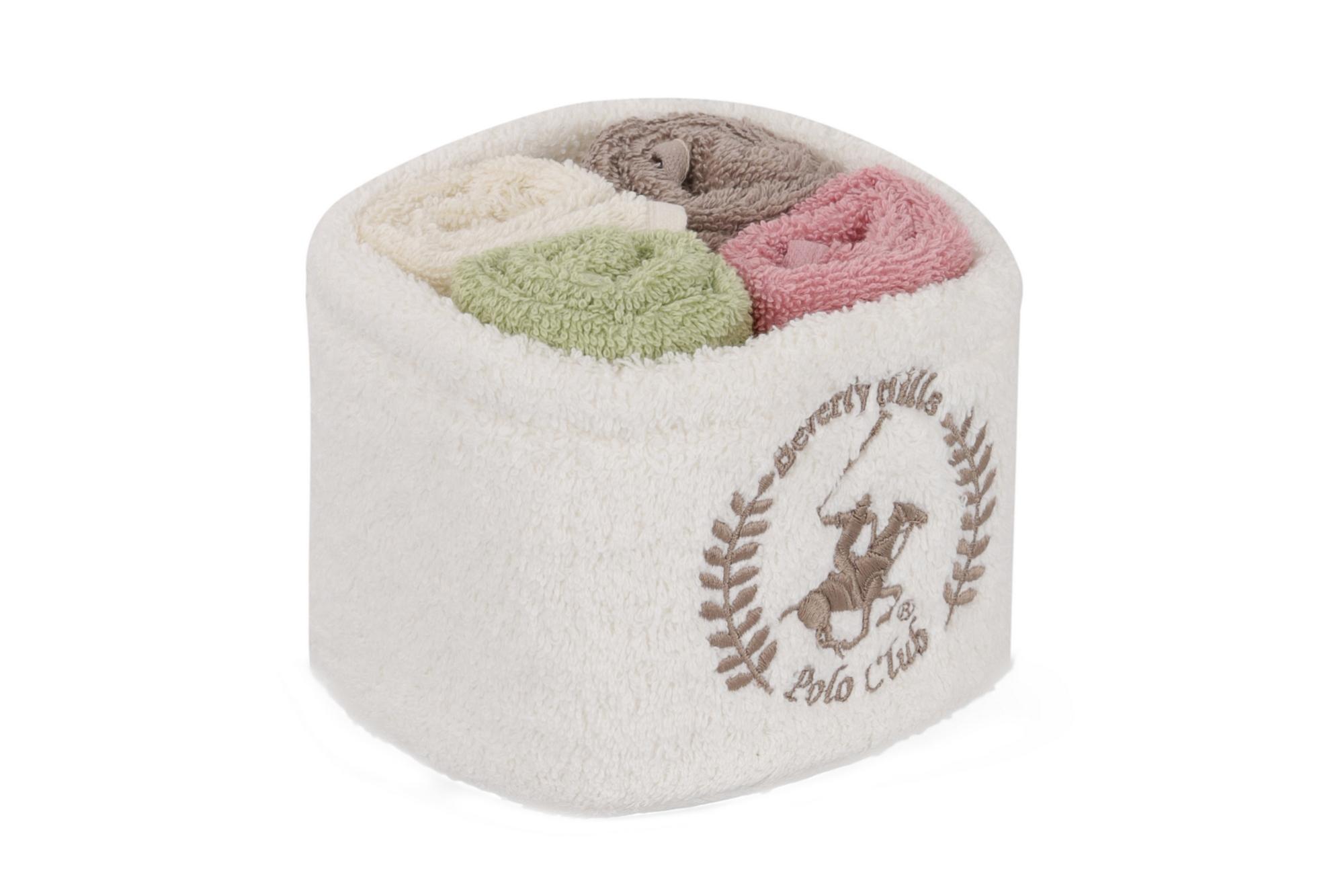 Set 4 prosoape baie din bumbac, Beverly Hills Polo Club Alinda Alb V08 / Mix 4 culori, 30 x 30 cm