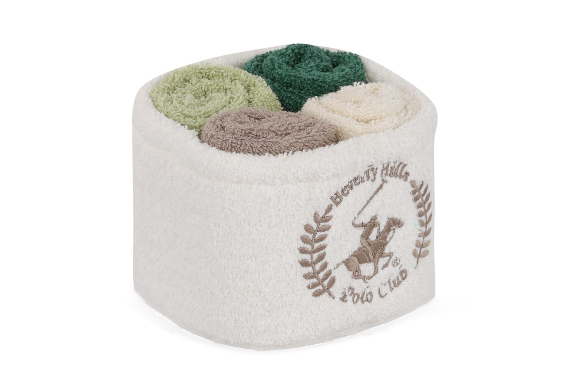 Set 4 prosoape baie din bumbac, Beverly Hills Polo Club Alinda Alb V10 / Mix 4 culori, 30 x 30 cm imagine