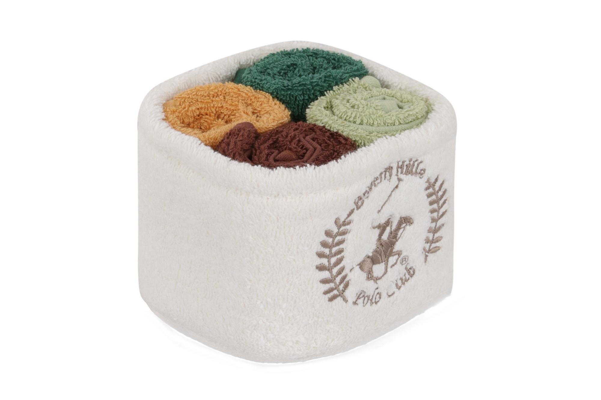 Set 4 prosoape baie din bumbac, Beverly Hills Polo Club Alinda Alb V12 / Mix 4 culori, 30 x 30 cm poza