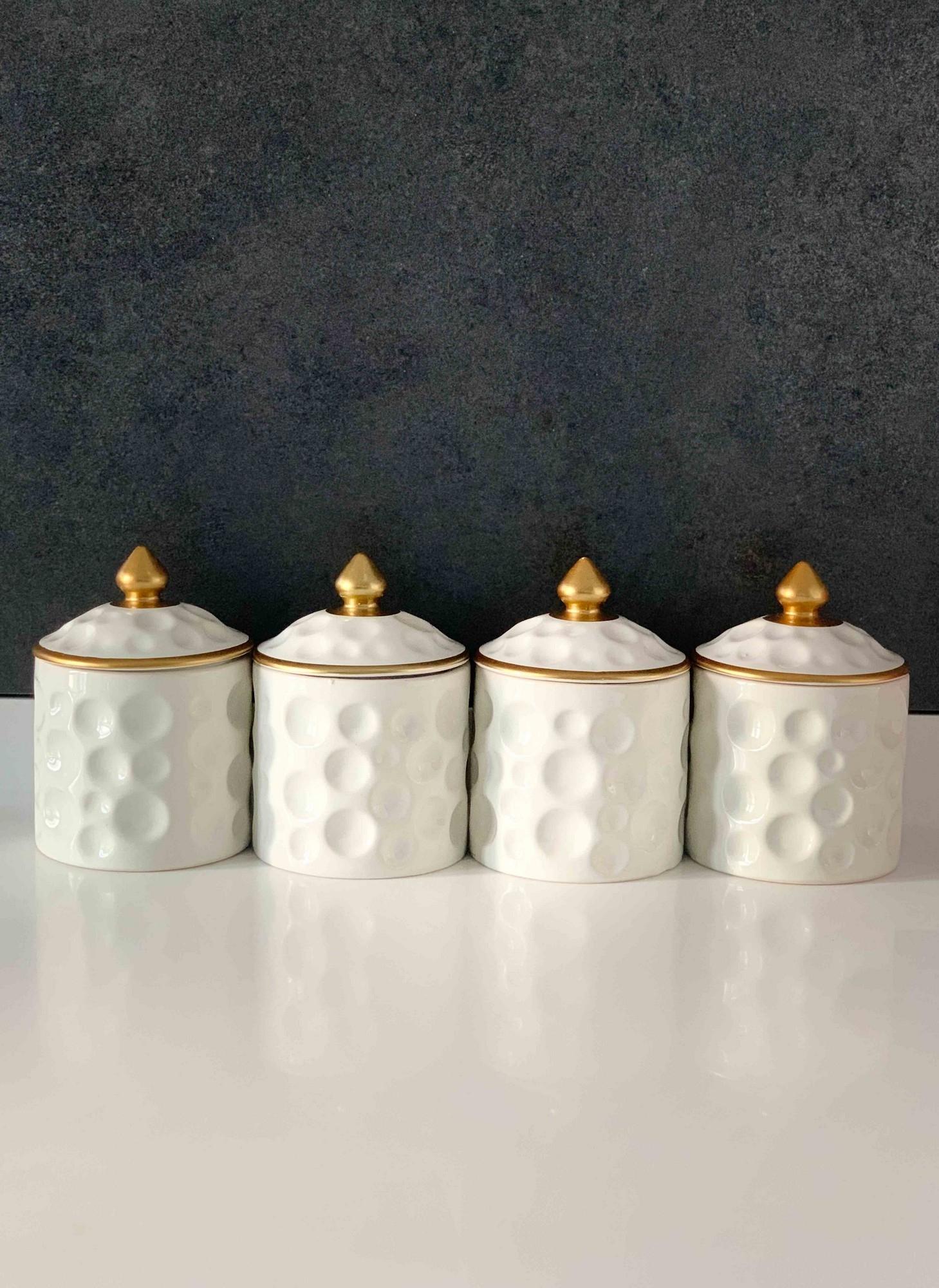 Set 4 recipiente pentru depozitare condimente, din ceramica, Regal Alb / Auriu, Ø7xH10 cm imagine
