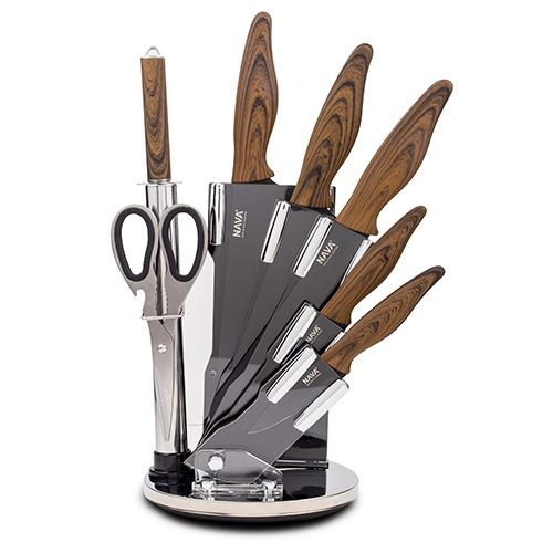 Set 5 cutite cu suport si accesorii Steel Negru / Natur