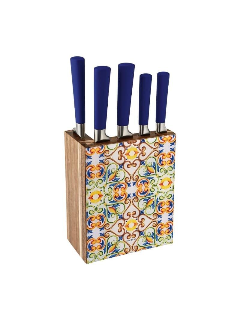Set 5 cutite din otel inoxidabil cu suport, Medicea Multicolor