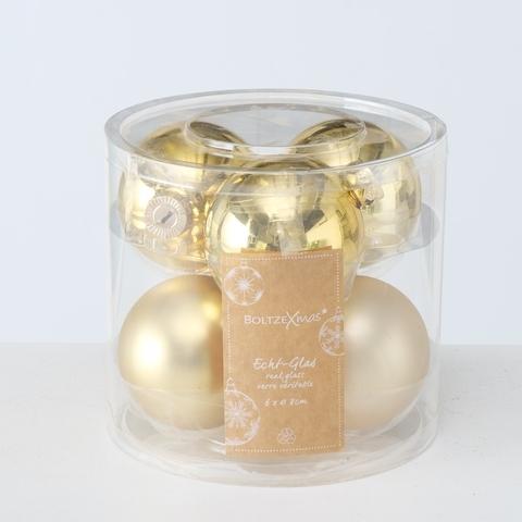 Set 6 globuri pentru brad, din sticla Christmas Ball Auriu, Ø8 cm