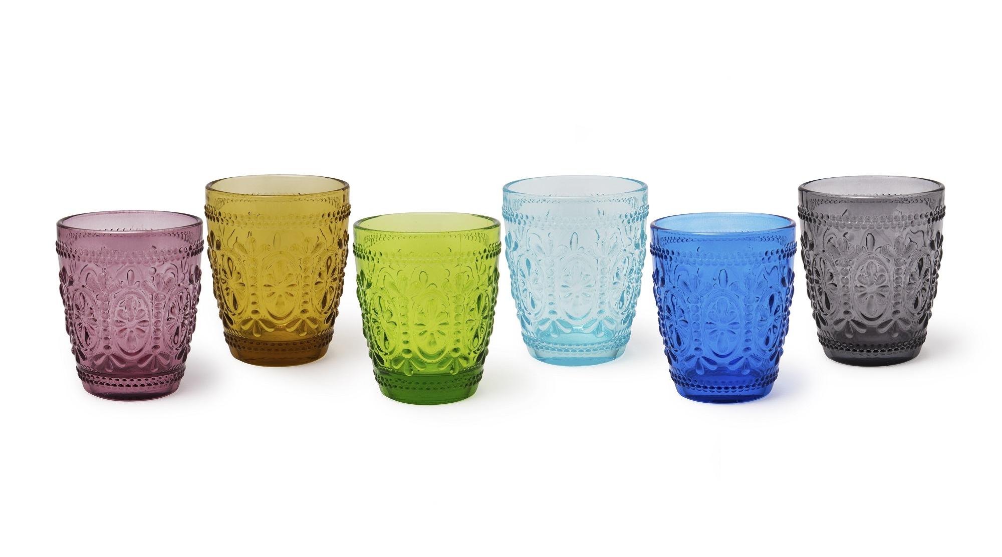 Set 6 Pahare Pentru Apa, Din Sticla, 250 Ml, Ø8xh10 Cm, Vinci Multicolor