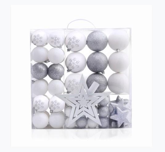 Set 76 globuri si stelute pentru brad din plastic Lux Alb / Argintiu, Ø10 / Ø20 / Ø4 cm imagine