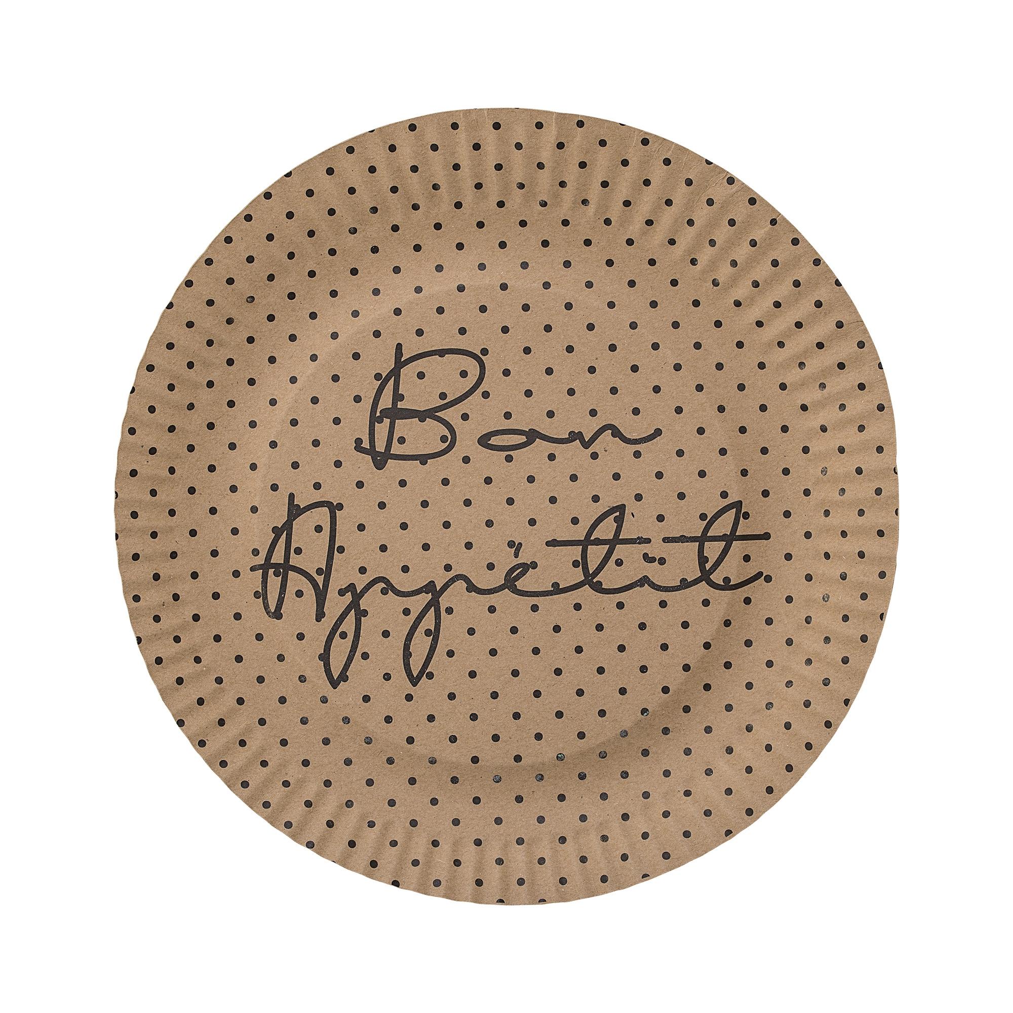 Set 8 farfurii din carton, Bon appetit Maro, Ø23 cm( 477738)