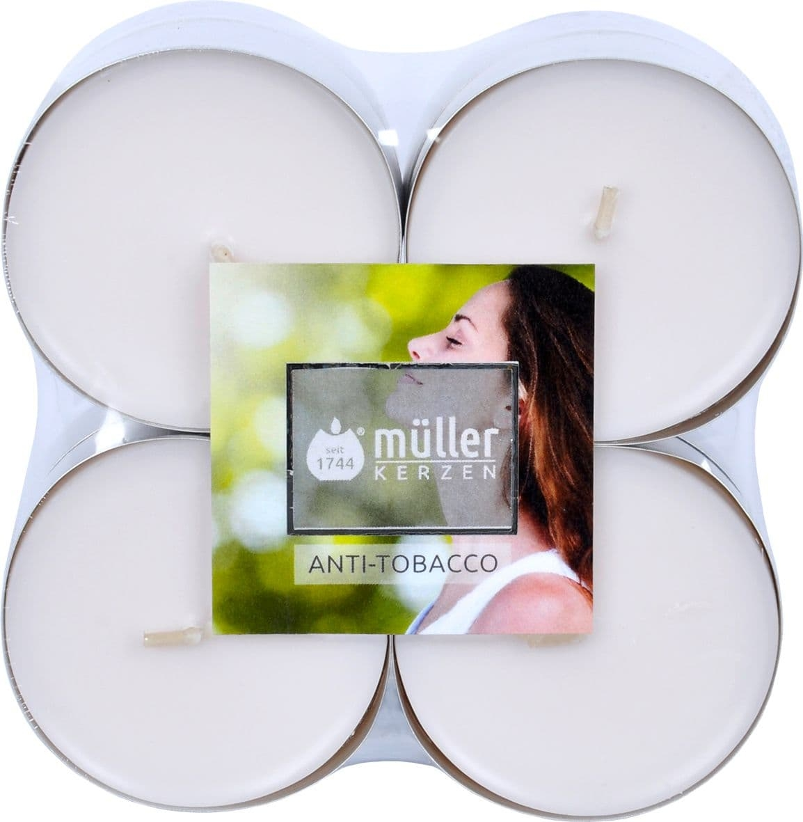 Set 8 lumanari parfumate tip pastila Maxi Antitabac Alb, Ø5,7xH2,2 cm poza