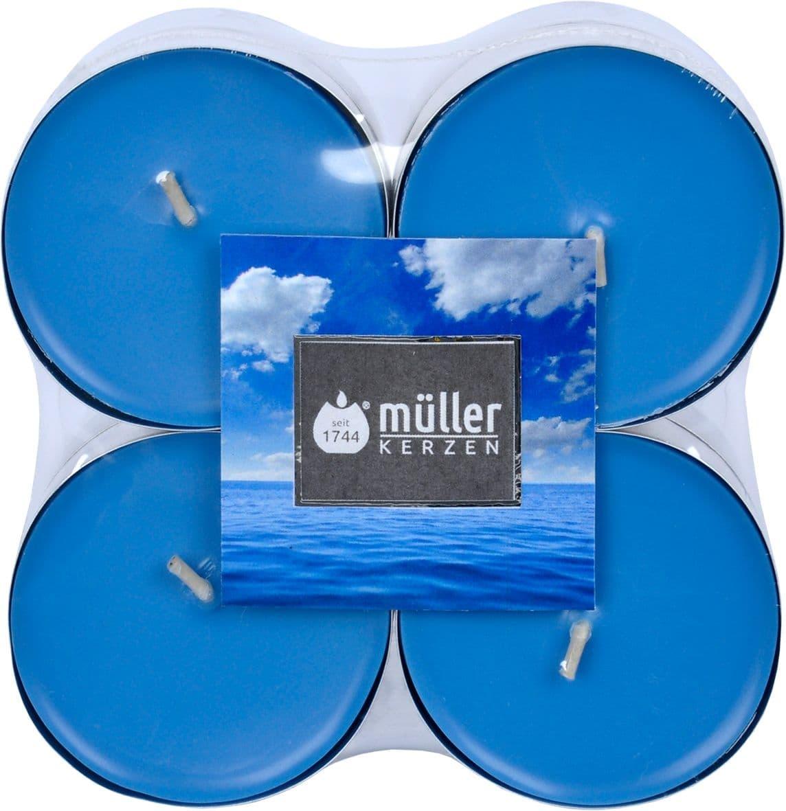 Set 8 lumanari parfumate tip pastila Maxi Briza Marii Albastru, Ø5,7xH2,2 cm imagine