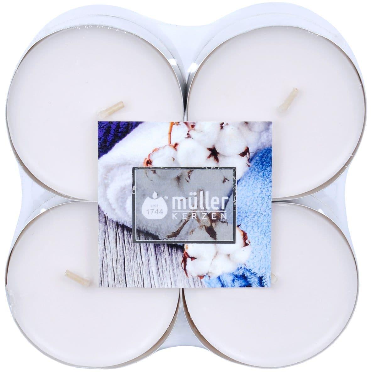 Set 8 lumanari parfumate tip pastila Maxi Soft Cotton Alb, Ø5,7xH2,2 cm poza