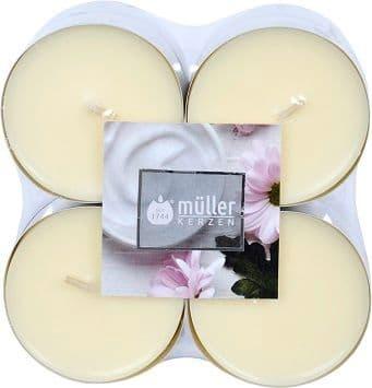 Set 8 lumanari parfumate tip pastila Maxi Soft Creme Ivoir, Ø5,7xH2,2 cm