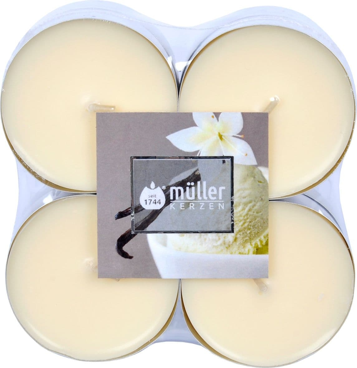 Set 8 lumanari parfumate tip pastila Maxi Vanilie Crem, Ø5,7xH2,2 cm poza