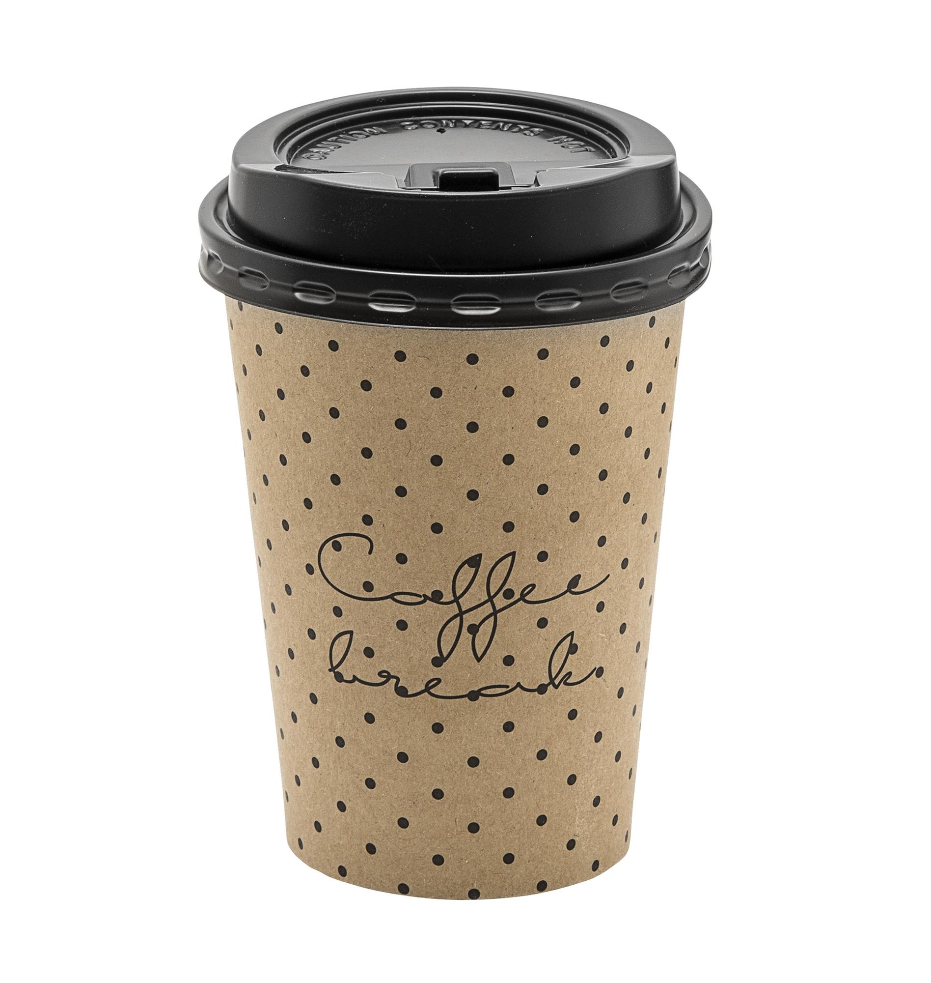 Set 8 pahare cu capac, din carton, Coffee Break Maro, Ø9xH11 cm imagine