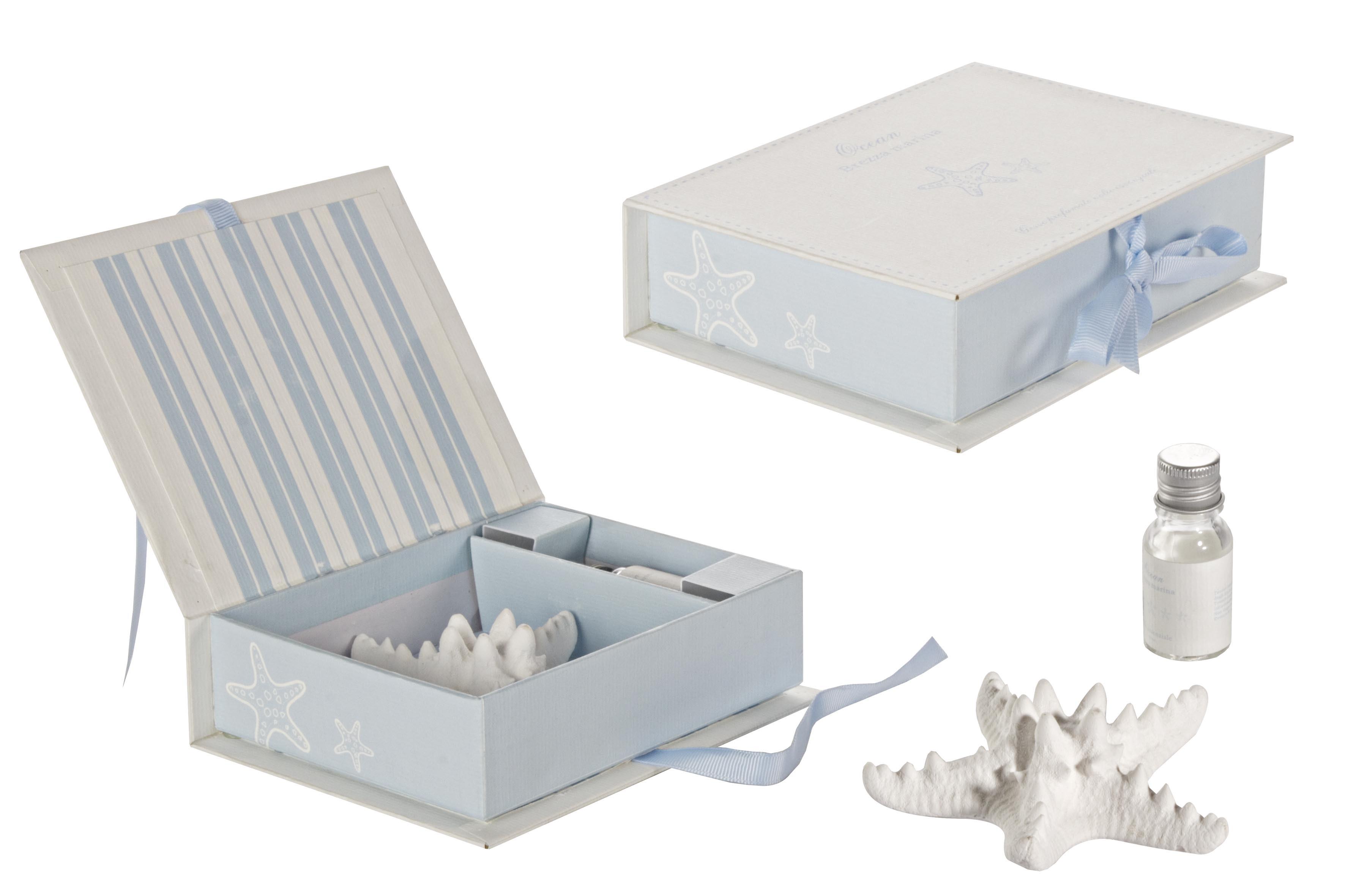 Set aromaterapie, 2 piese in cutie cadou, Ocean Albastru / Alb, L15xl11,5xH4 cm imagine