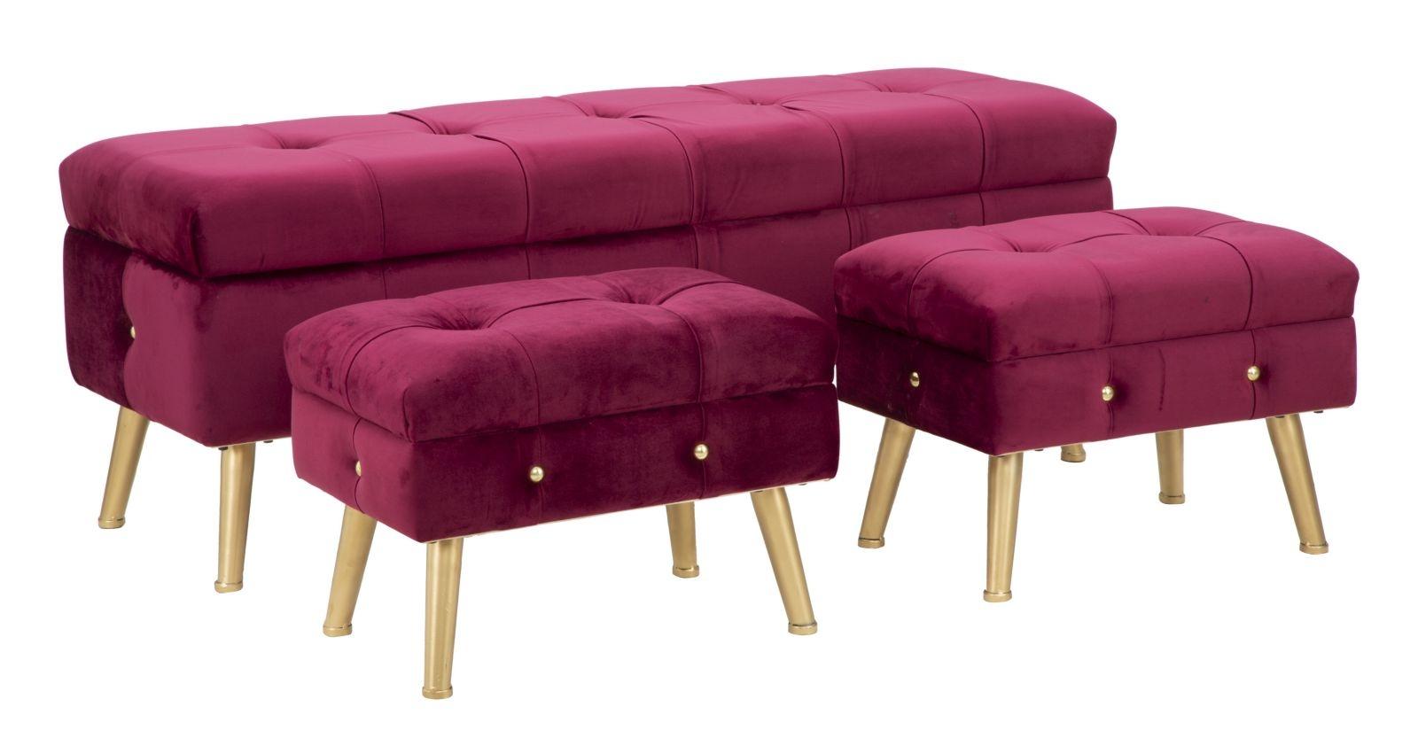 Set banca cu 2 taburete, tapitate cu stofa si picioare metalice Glam Bordeaux, l124xA42xH47,5 cm / l50xA34xH37 cm din categoria Taburete si Banci