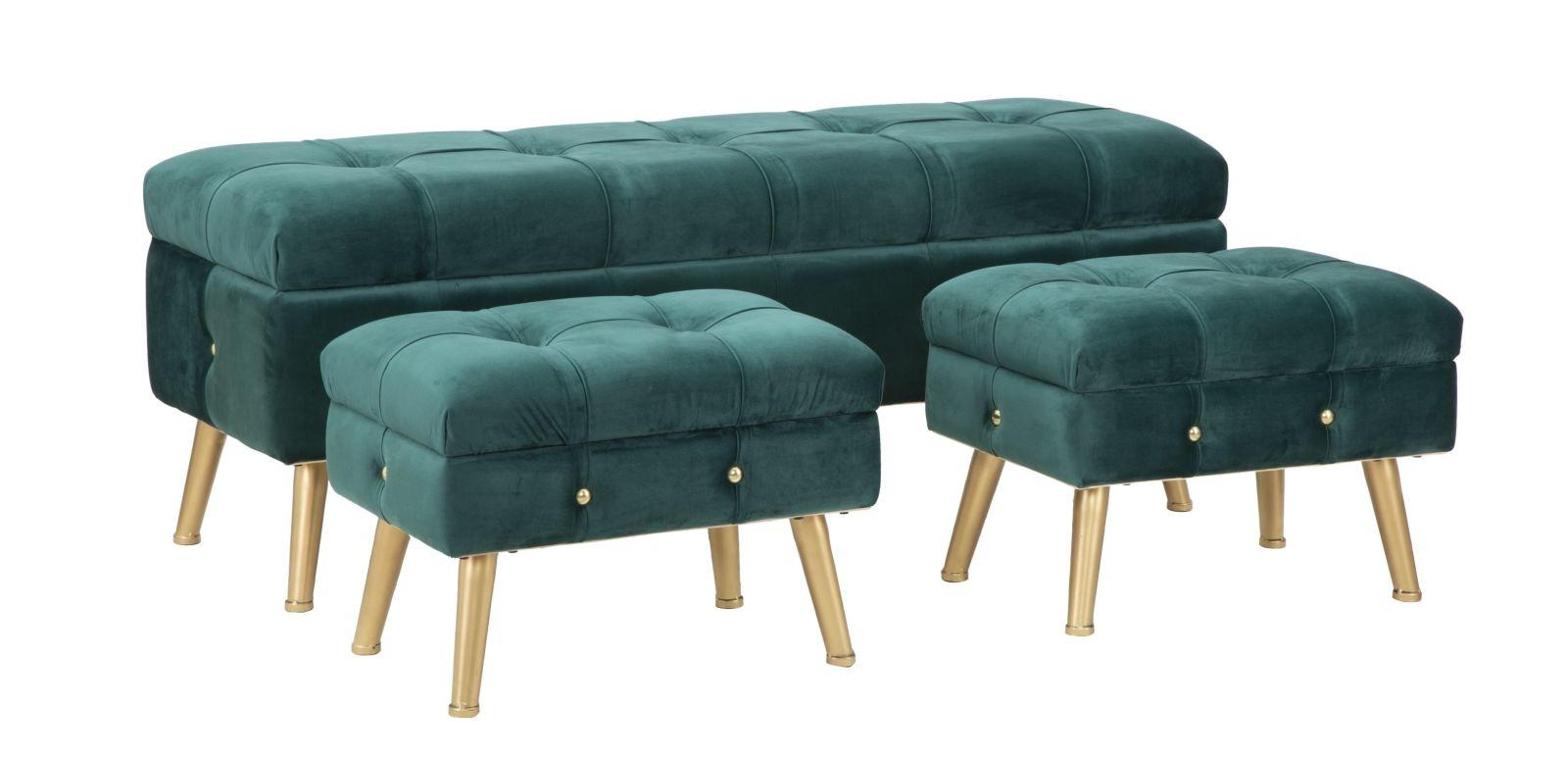 Set banca cu 2 taburete, tapitate cu stofa si picioare metalice Glam Verde, l124xA42xH47,5 cm / l50xA34xH37 cm din categoria Taburete si Banci
