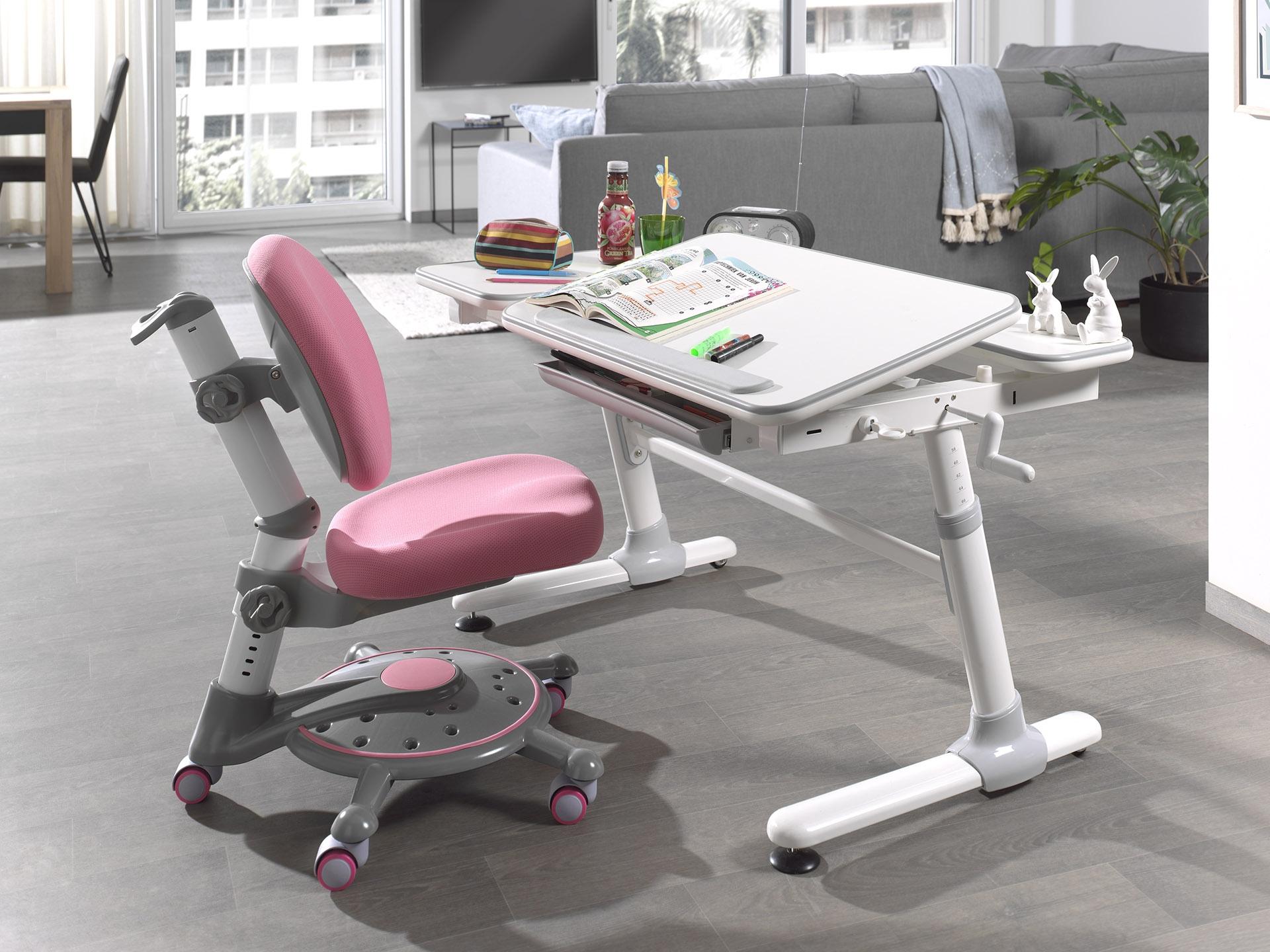 Set birou ergonomic pentru copii, reglabil pe inaltime Comfortline Alb / Roz, L119xl73xH56-80 cm imagine