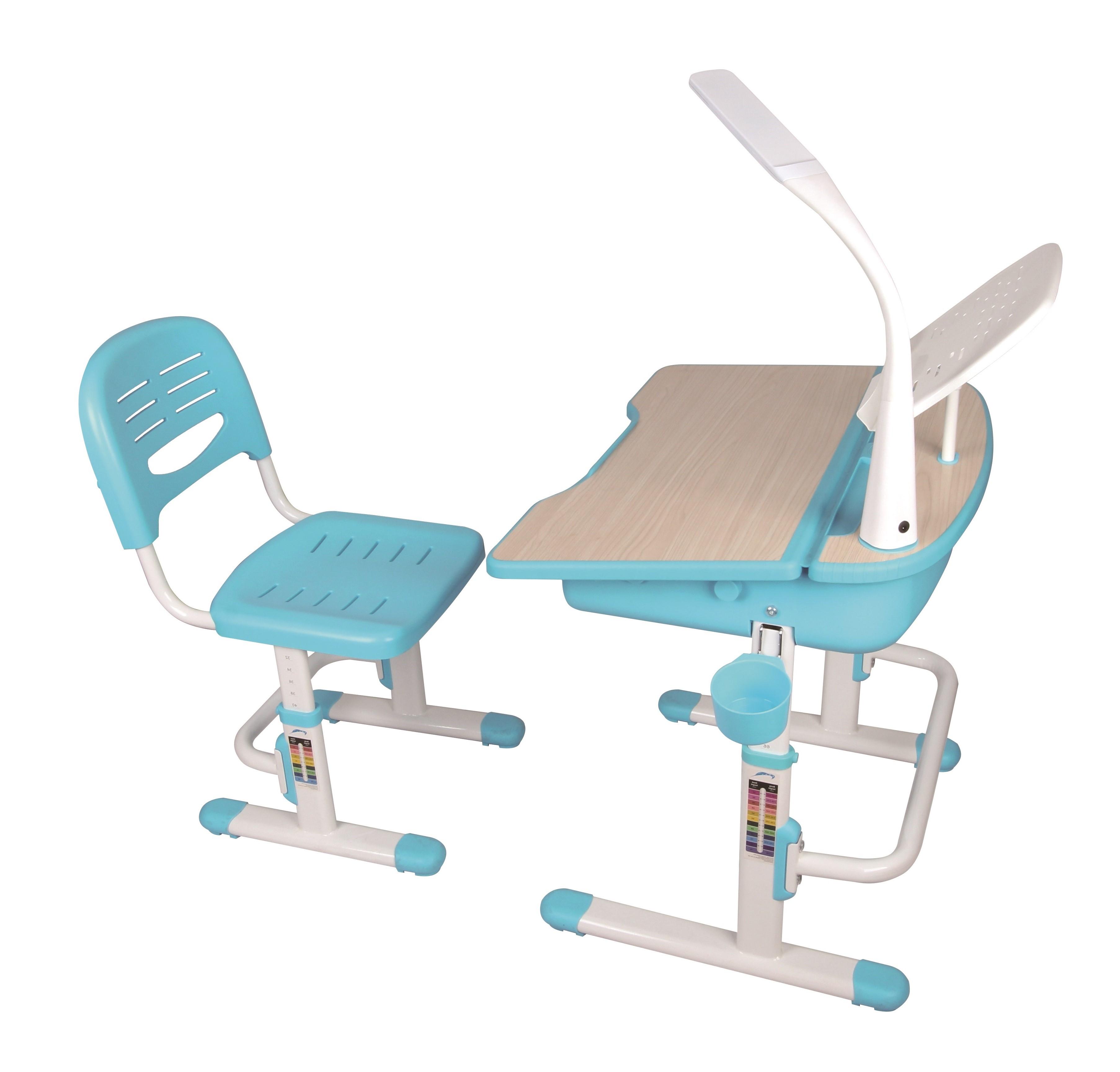 Set birou pentru copii cu lampa LED, reglabil pe inaltime Comfortline Albastru, L70,5xl54,5xH54 cm imagine