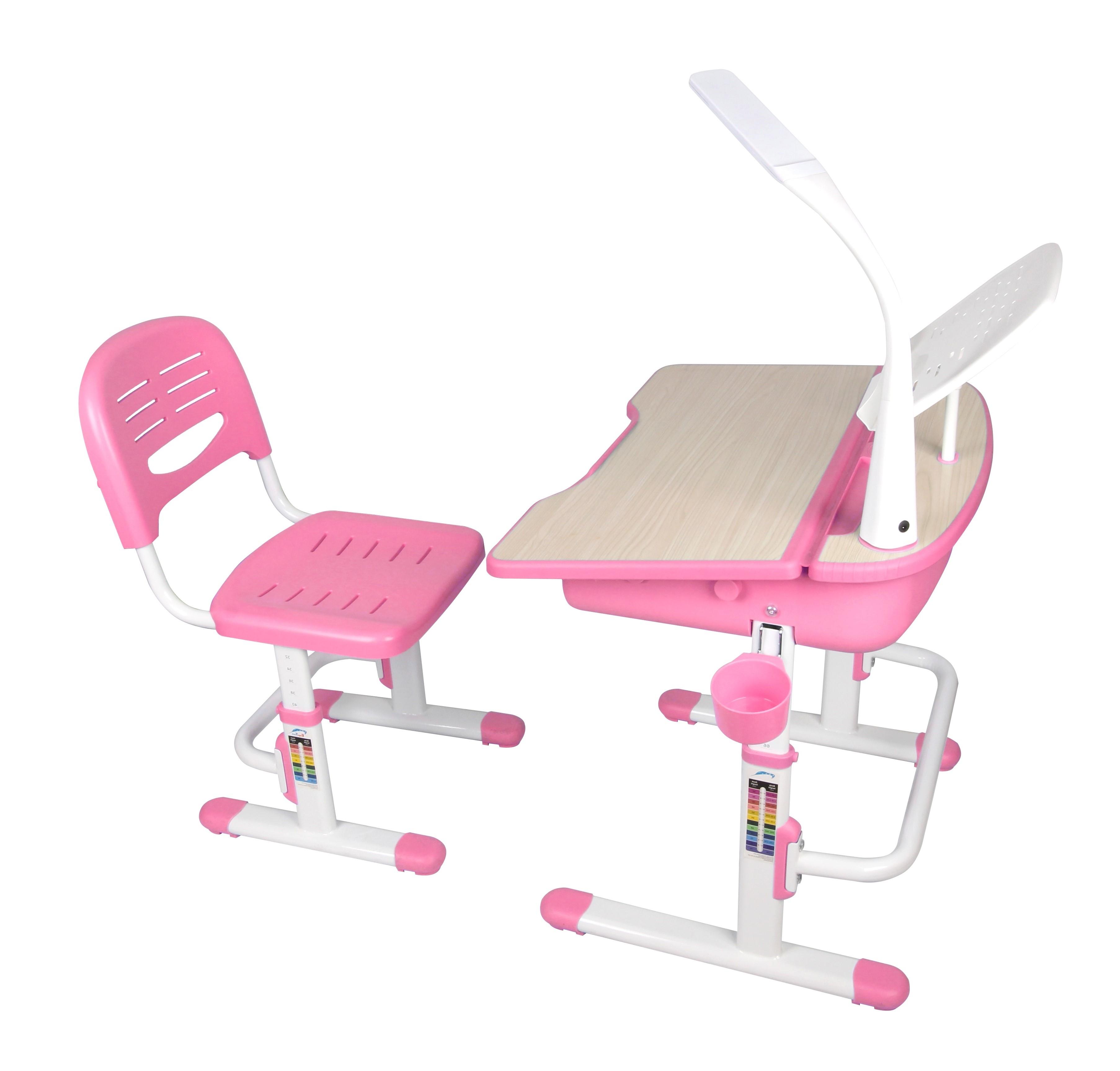 Set birou pentru copii cu lampa LED, reglabil pe inaltime Comfortline Roz, L70,5xl54,5xH54 cm imagine