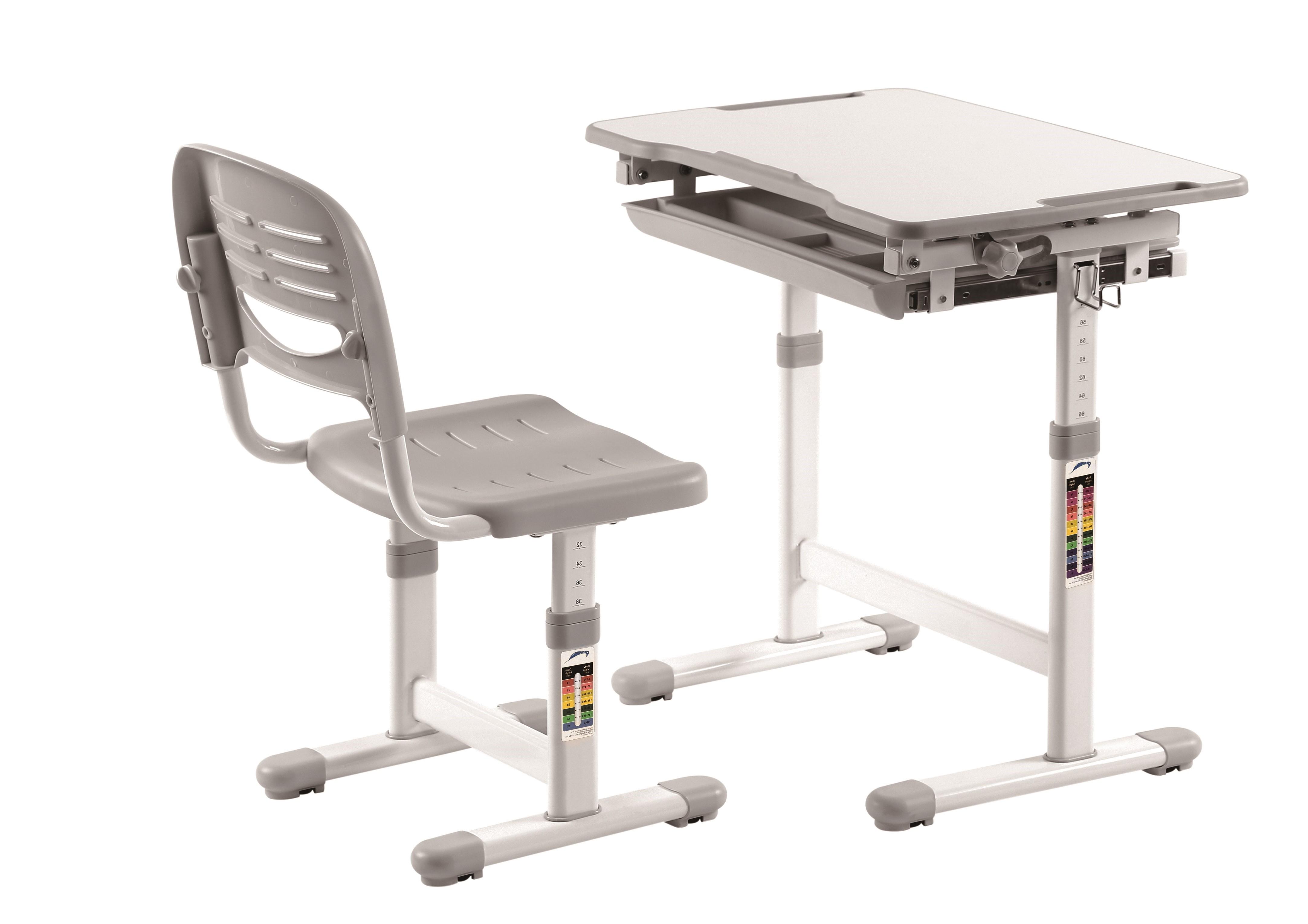 Set birou pentru copii, reglabil pe inaltime Comfortline Gri, L66,4xl47,4xH54 cm imagine