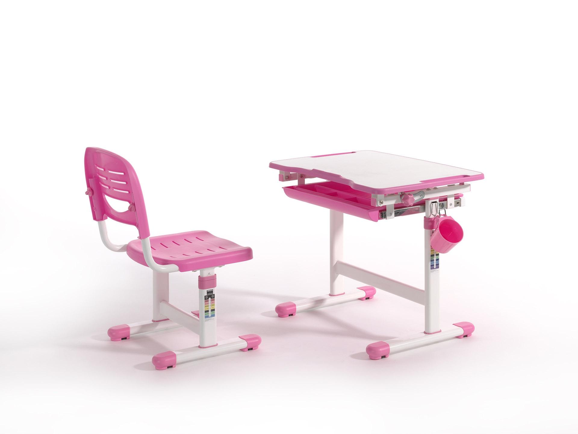 Set birou pentru copii, reglabil pe inaltime Comfortline Roz, L66,4xl47,4xH54 cm imagine