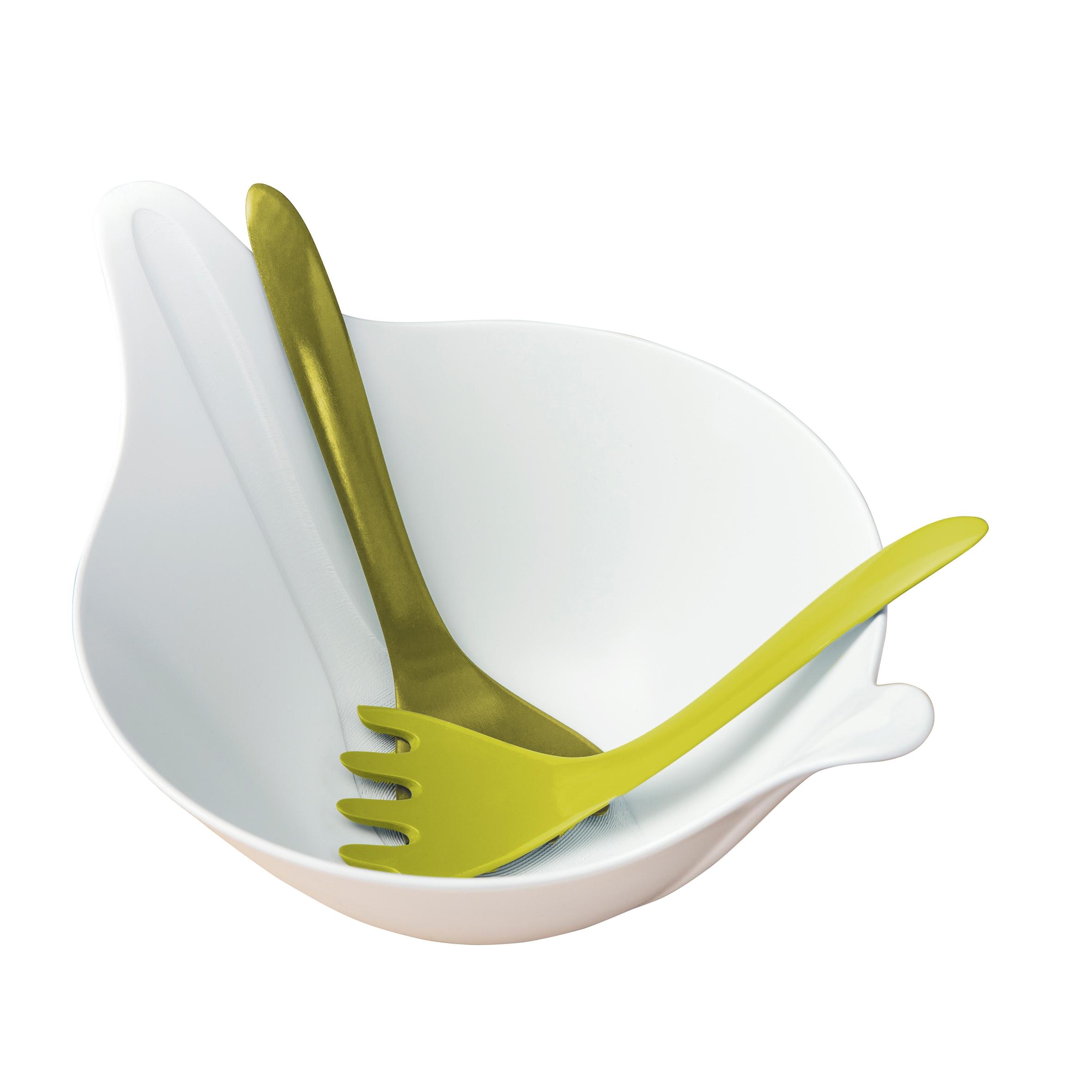 Set bol si 2 ustensile pentru salata, din termoplastic Leaf Alb / Verde, L40,2xl28,8xH20 cm imagine