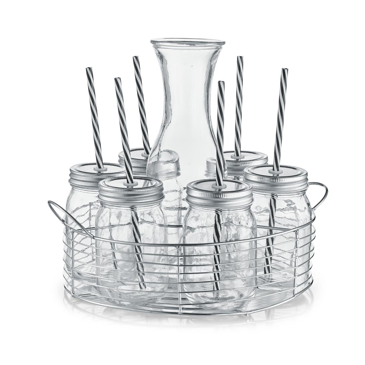 Set carafa si pahare pentru limonada cu suport metalic 8 piese