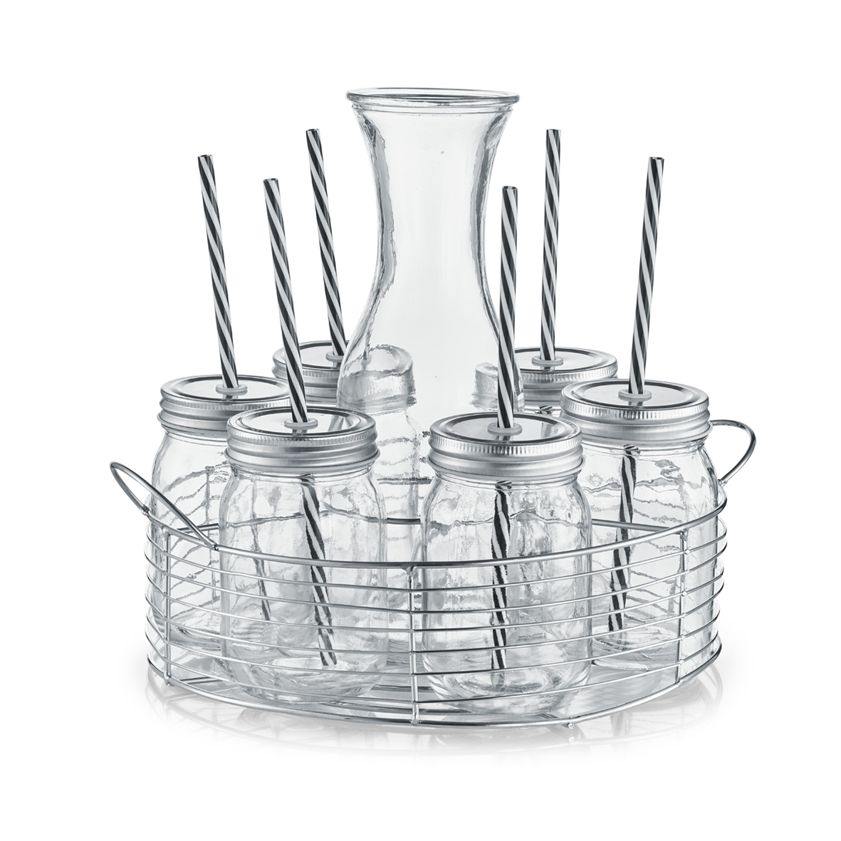 Set carafa si pahare pentru limonada, cu suport metalic, 8 piese somproduct.ro
