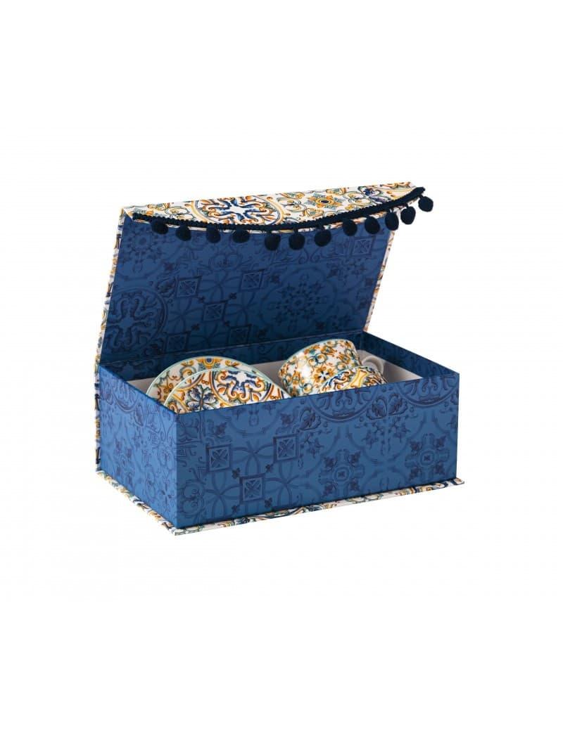 Set cesti cu farfurioare din portelan, in cutie cadou, Medicea Multicolor, 90 ml, 4 piese somproduct.ro