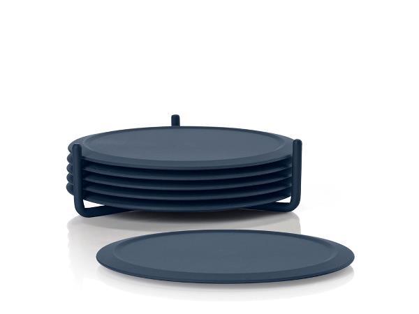 Set coastere cu suport Single 332059 Bleumarin, Ø10xH3,1 cm, 7 piese, Zone Denmark