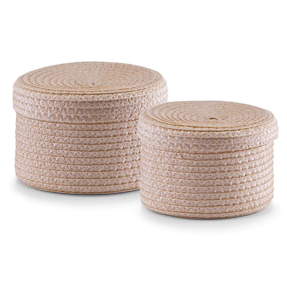 Set cosuri pentru depozitare cu capac Round, 2 piese, Natural Plastic