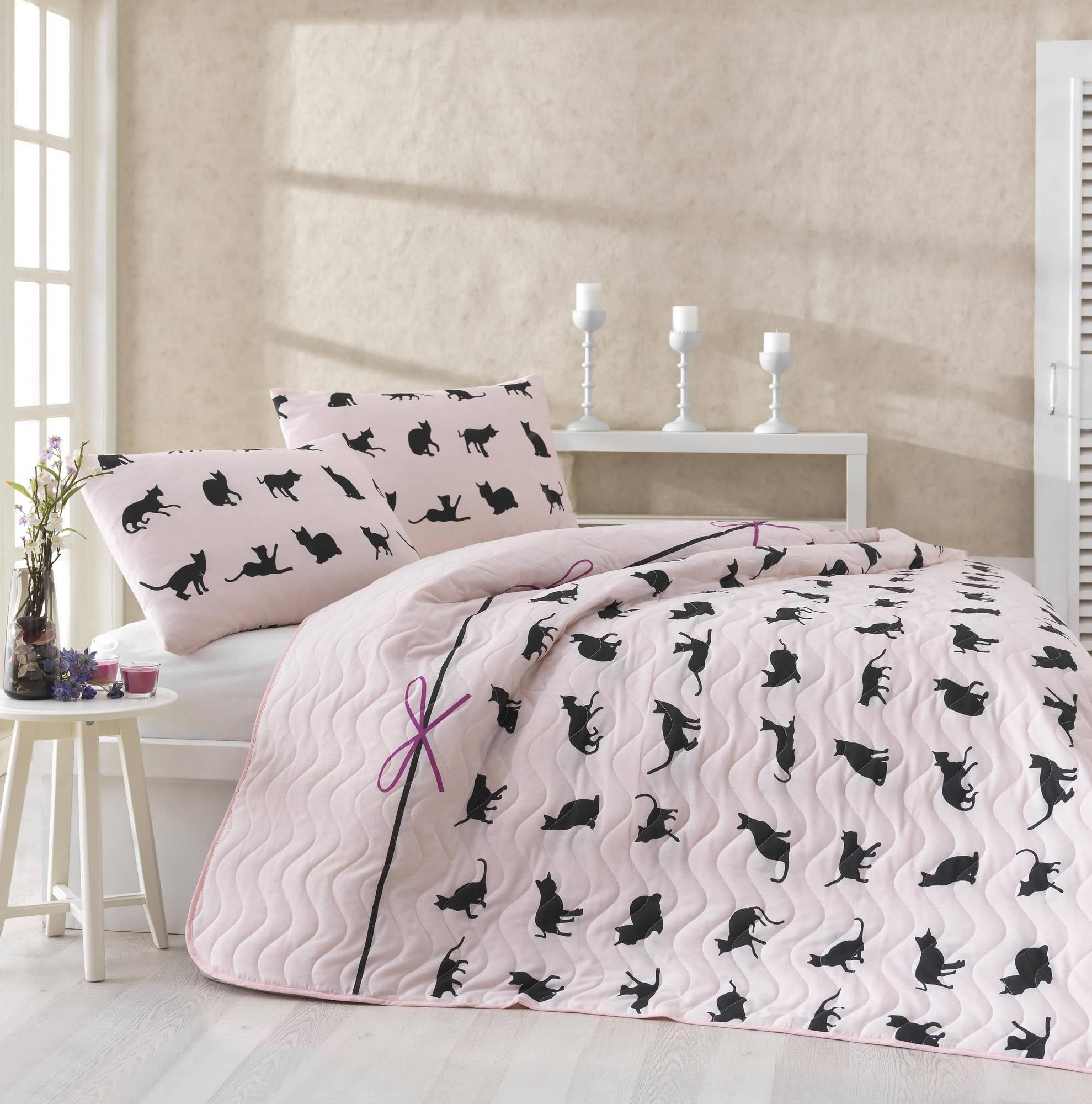 Set cuvertura si 1 fata de perna Cats Roz / Negru,160 x 220 cm imagine
