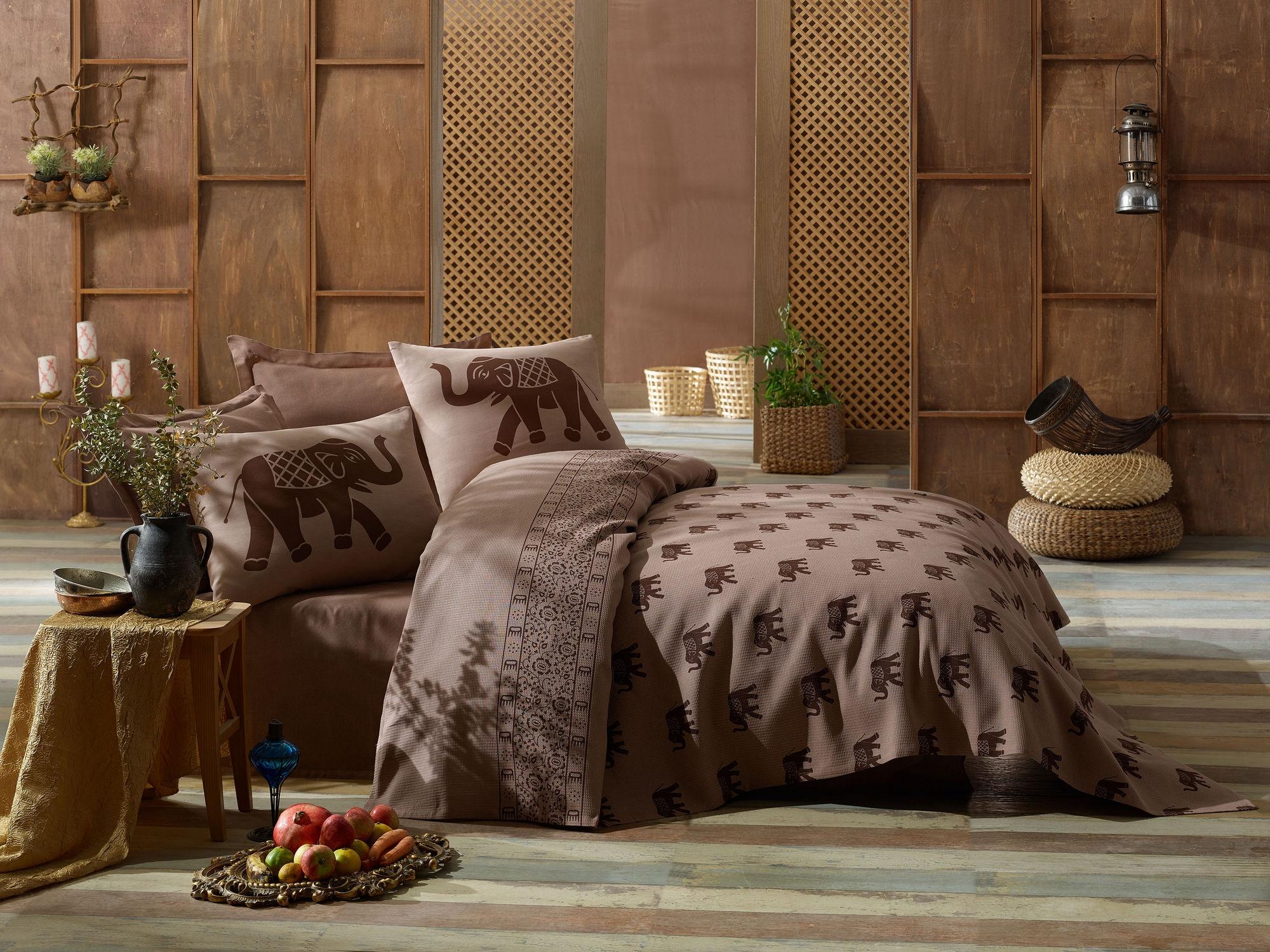 Set cuvertura de pat din bumbac, Fil Maro, 4 piese, 200 x 235 cm imagine