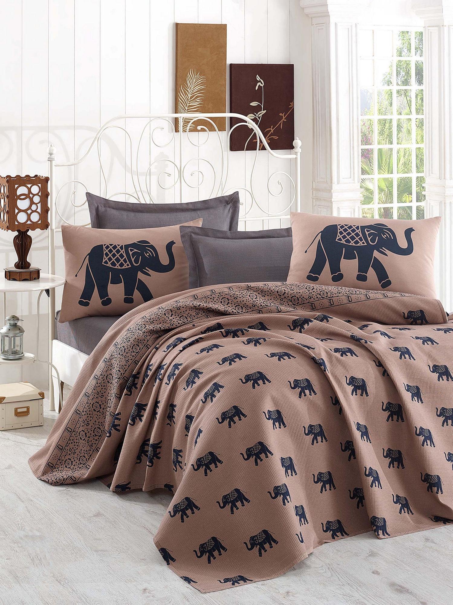 Set cuvertura de pat din bumbac, Fil Maro / Bleumarin, 4 piese, 200 x 235 cm somproduct.ro imagine 2021