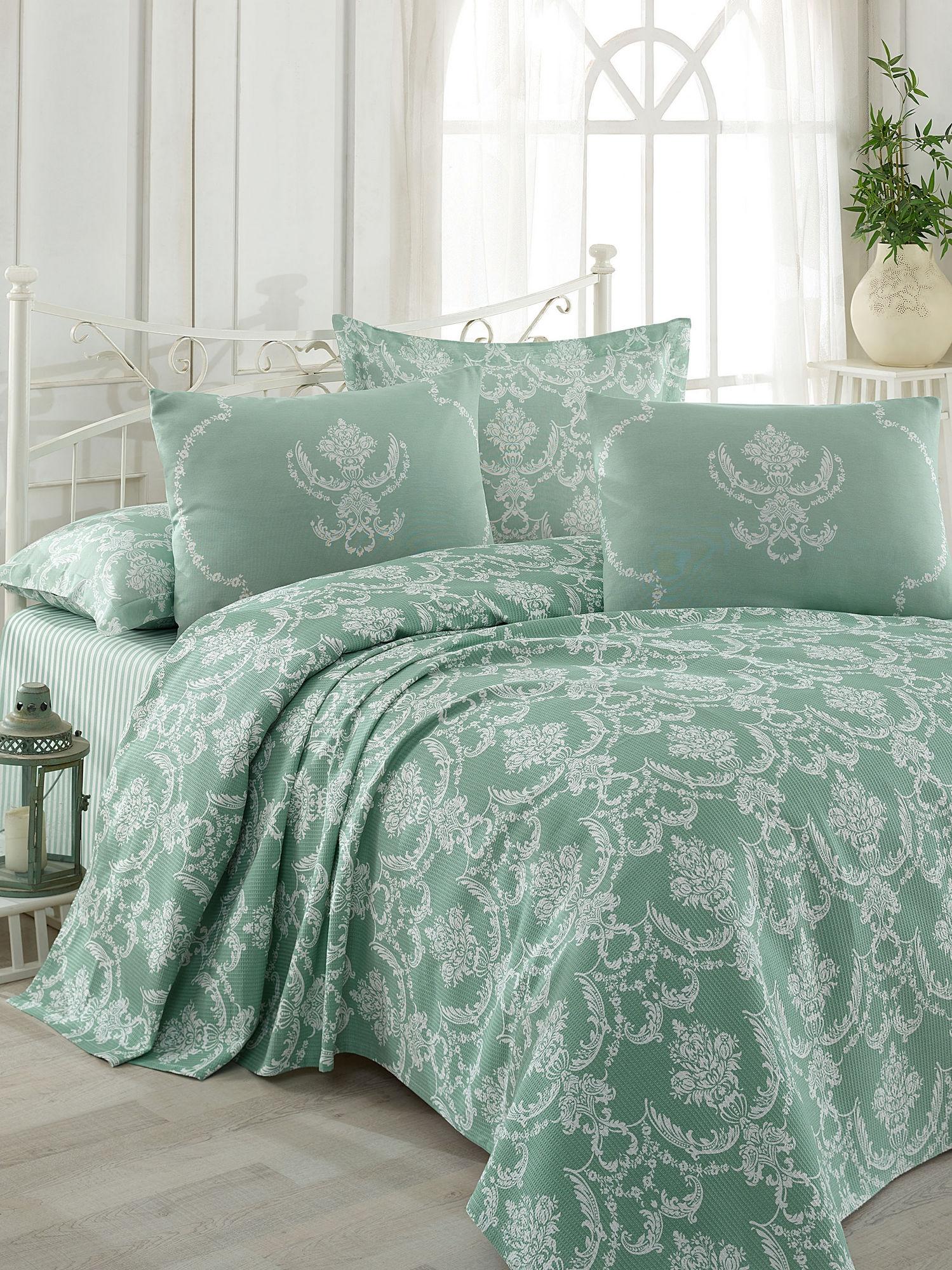 Set cuvertura de pat din bumbac, Pure Verde / Alb, 4 piese, 200 x 235 cm imagine