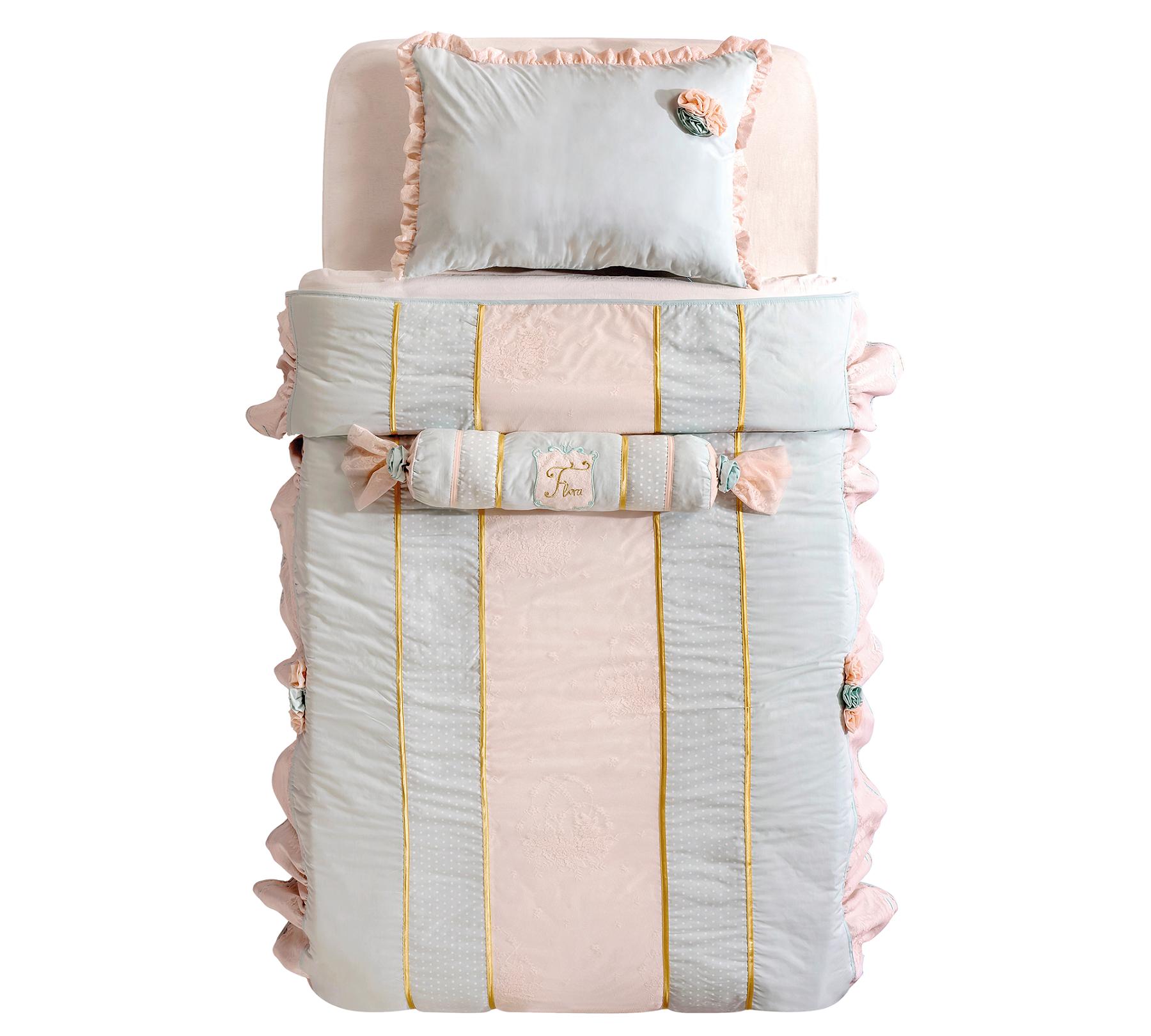 Set cuvertura pat copii si 1 perna decorativa Paradise Turcoaz deschis / Roz imagine