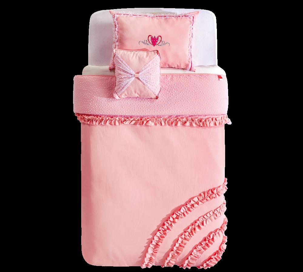 Set Cuvertura Reversibila Pat Copii Perna Decorativa Rosa Pink