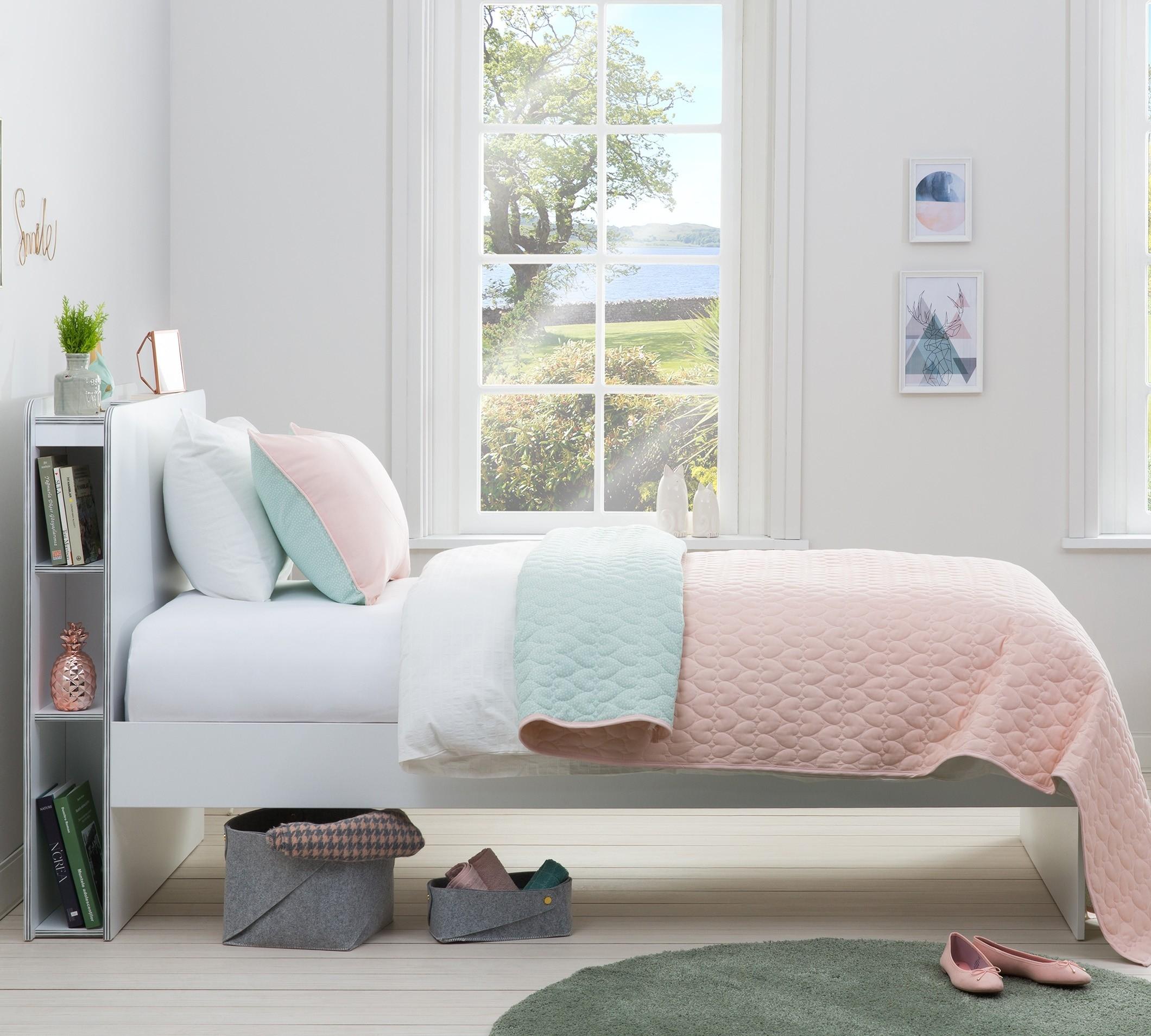 Set cuvertura reversibila pat copii si fata de perna Ducky Pink / Mint, 145 x 230 cm imagine