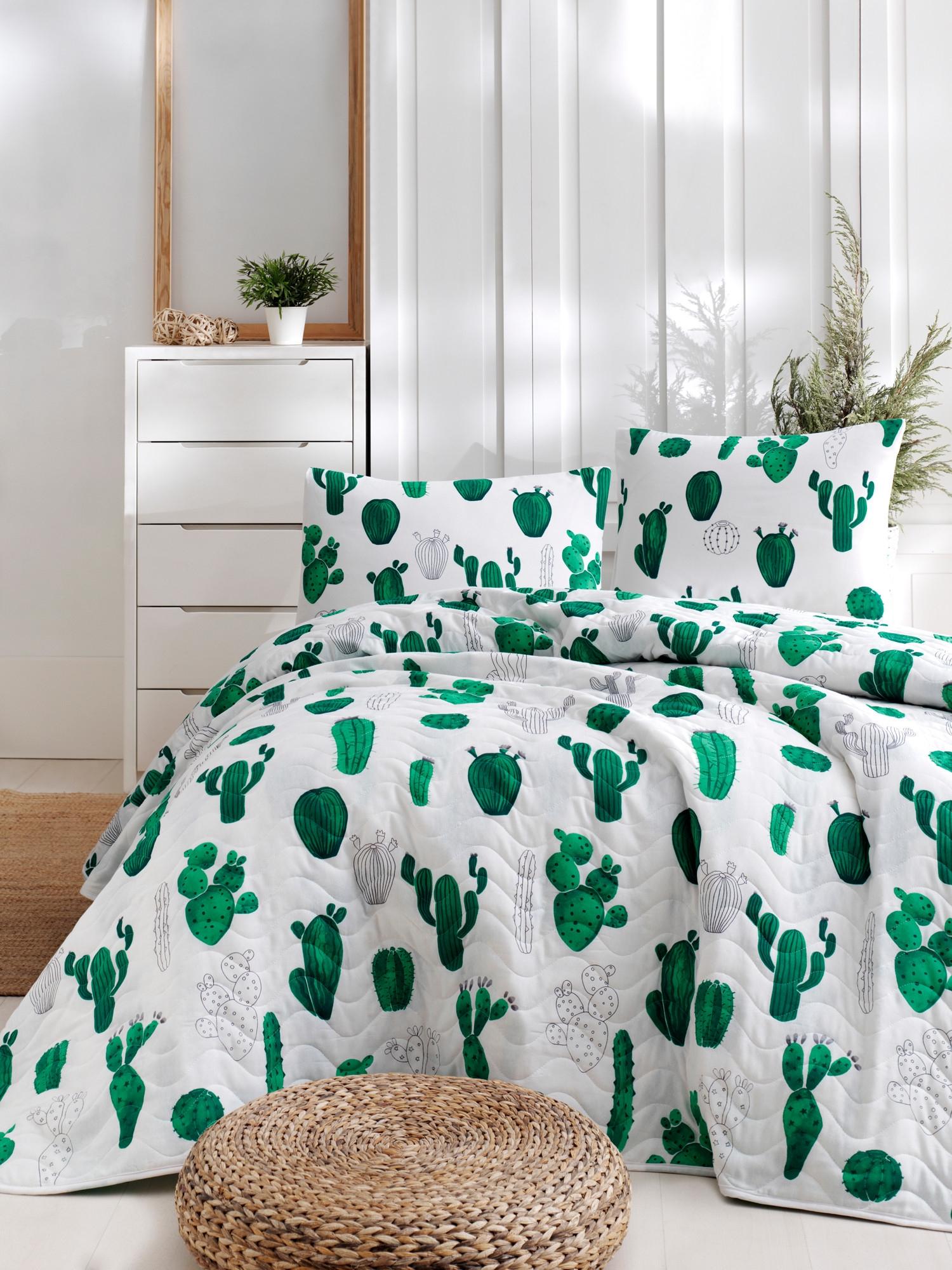 Set Cuvertura Si 2 Fete De Perna Cactus Alb / Verde, 200 X 220 Cm