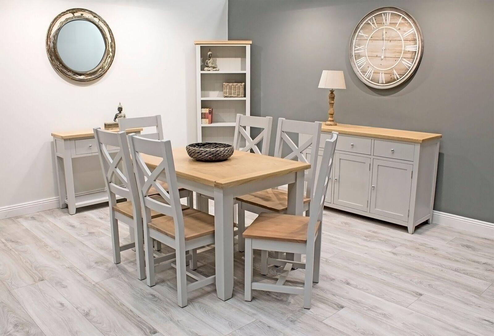 Set de mobila dining din lemn de pin si MDF 10 piese Ferndale Grey / Oak