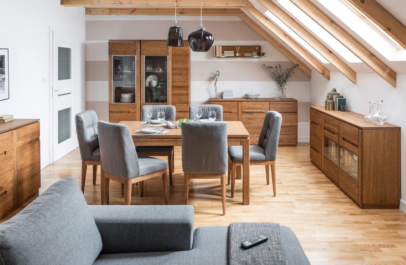 Set de mobila dining din lemn si furnir, 6 piese Montenegro Stejar Rustic