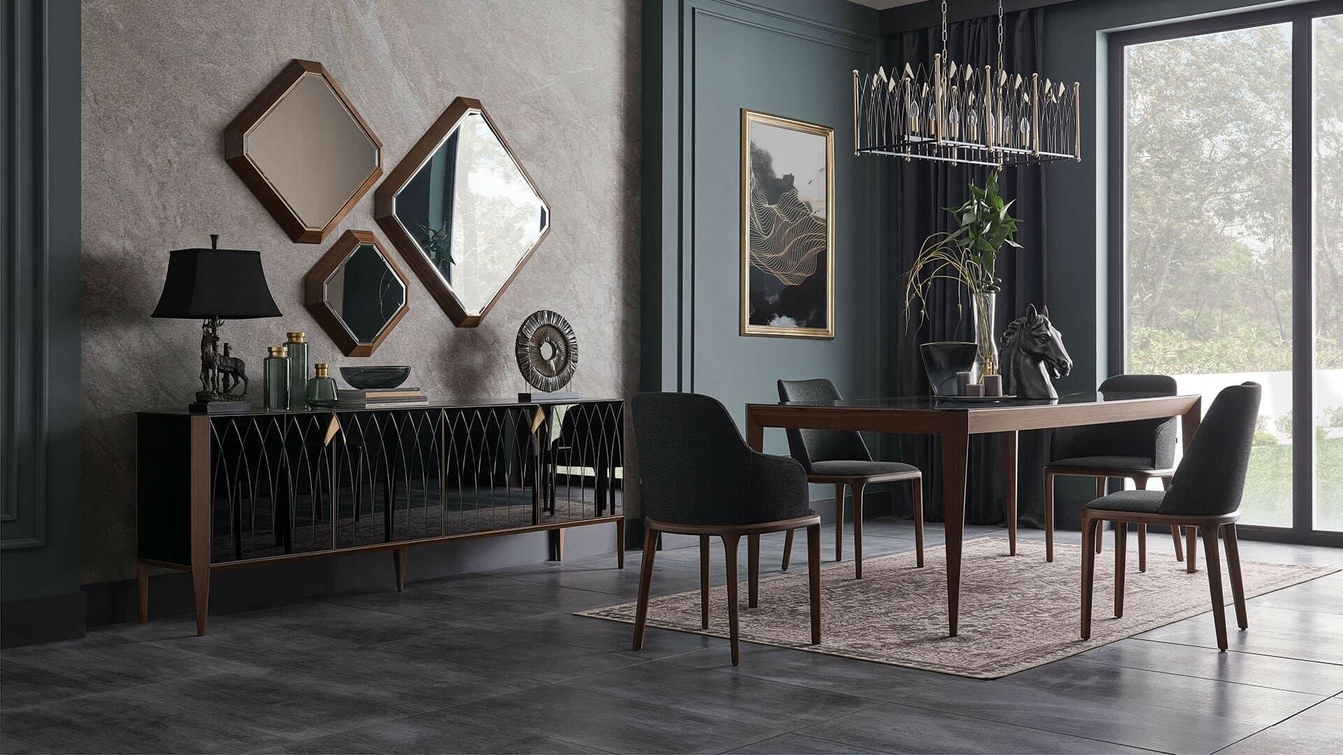 Set de mobila dining din lemn si sticla, 9 piese Logan Negru / Nuc imagine