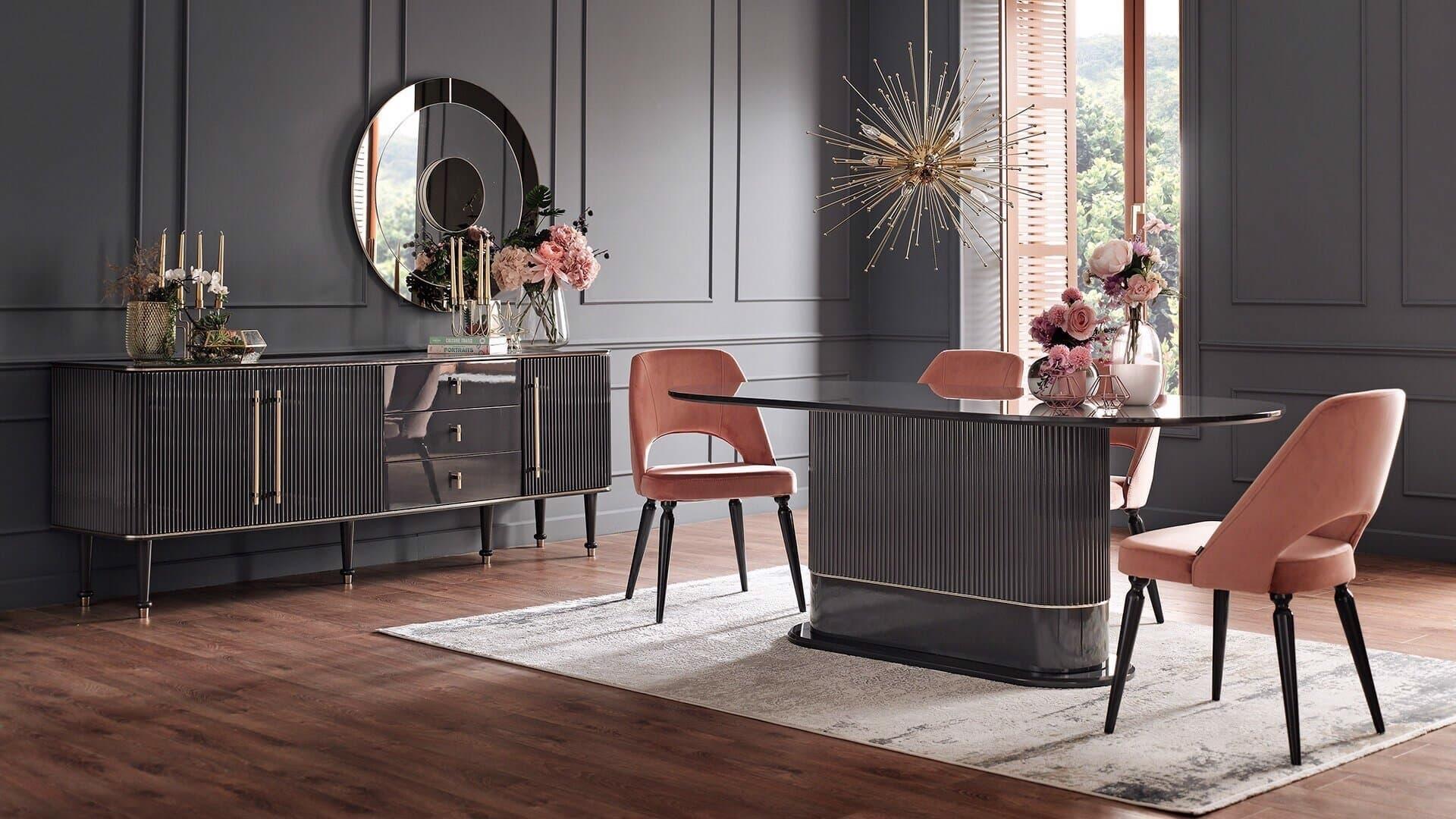 Set de mobila dining din MDF si pal, 7 piese Olivia Antracit imagine
