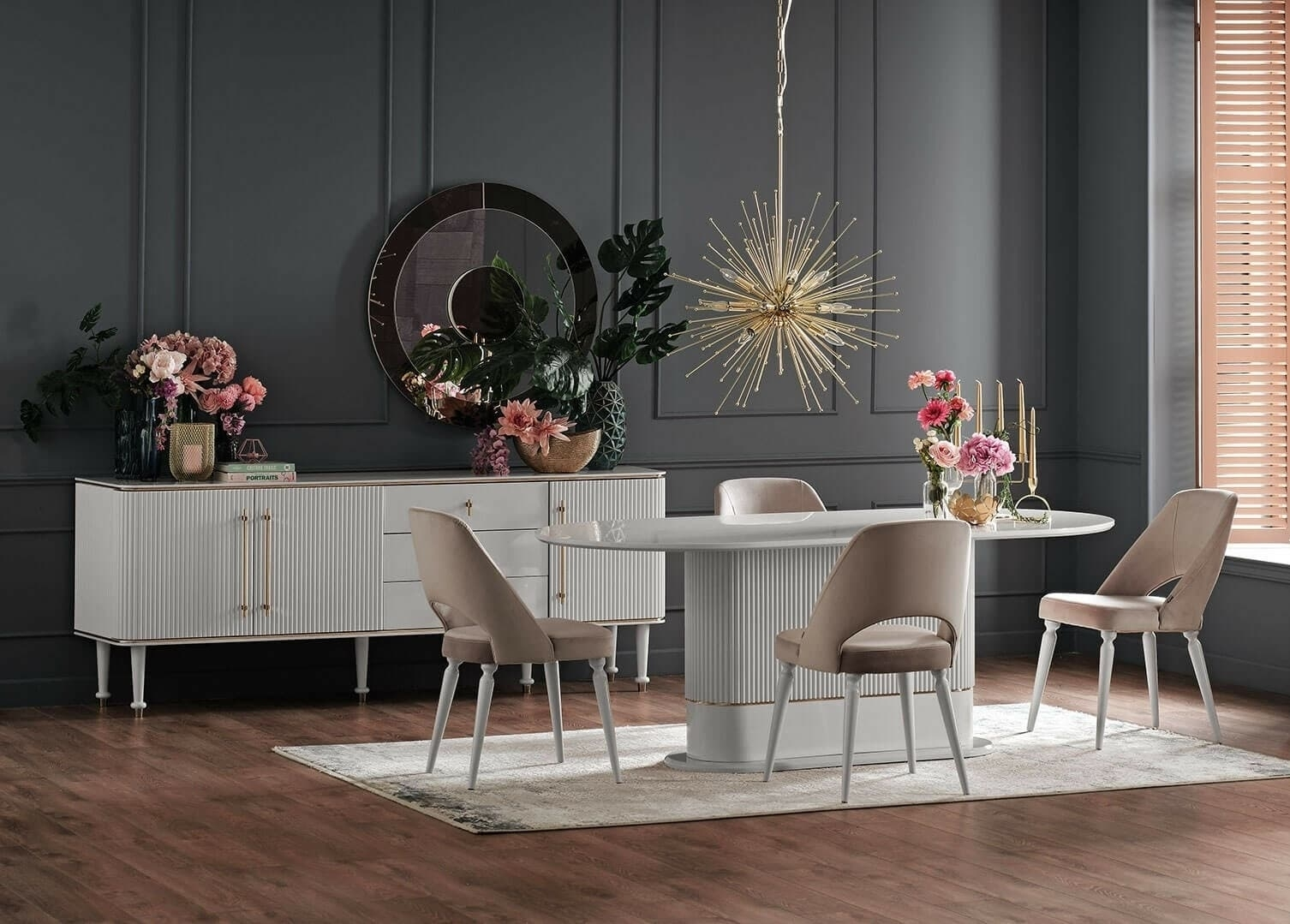Set de mobila dining din MDF si pal, 7 piese Olivia Crem somproduct.ro