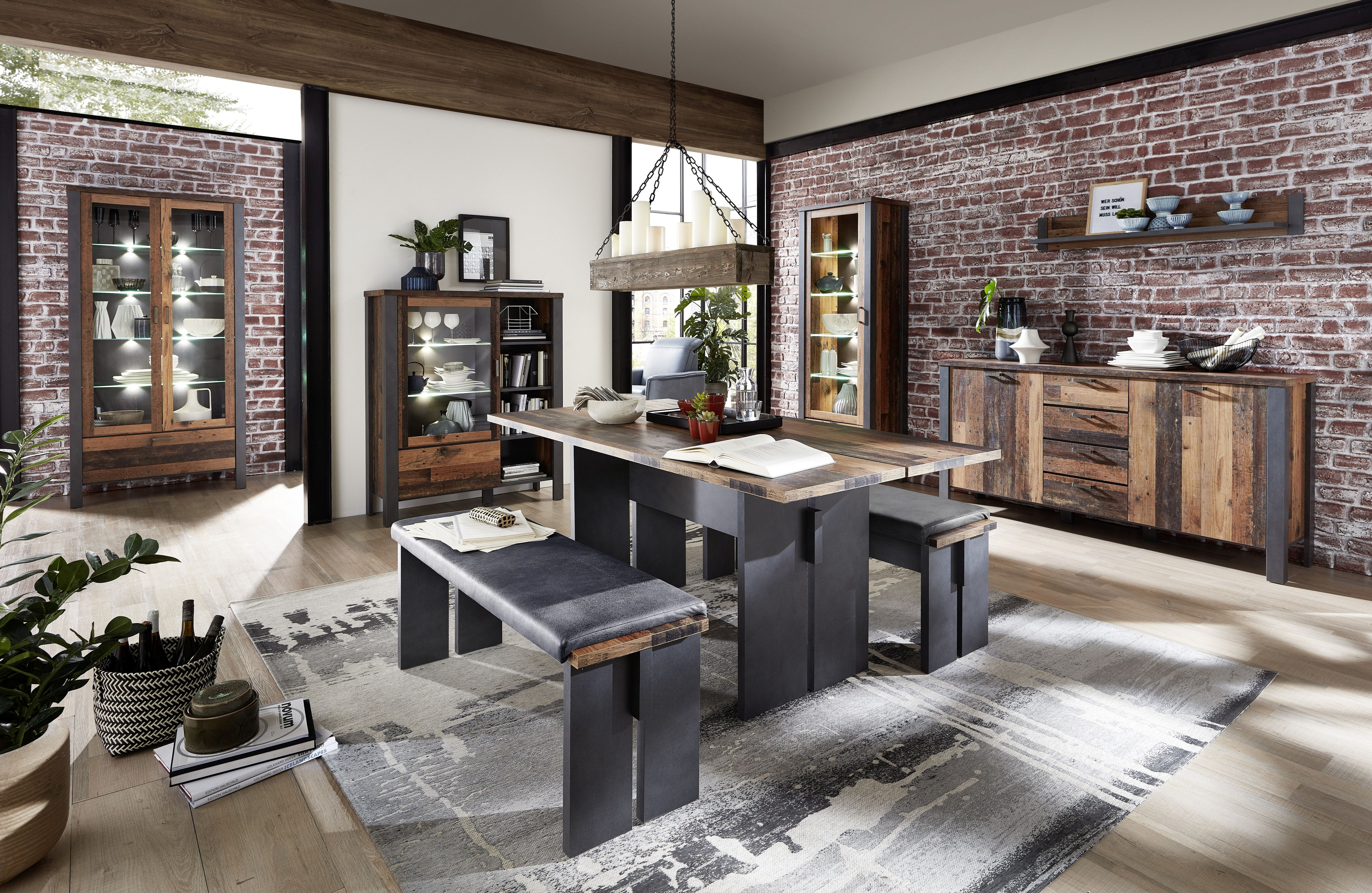 Set de mobila dining din pal, 8 piese Chelsea Natural / Grafit somproduct.ro imagine 2021
