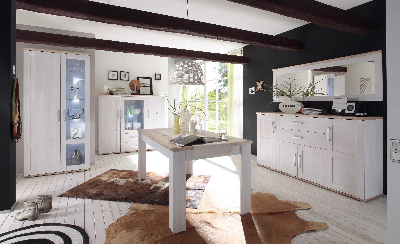Set de mobila dining din pal, 5 piese Romina Alb / Stejar San Remo somproduct.ro
