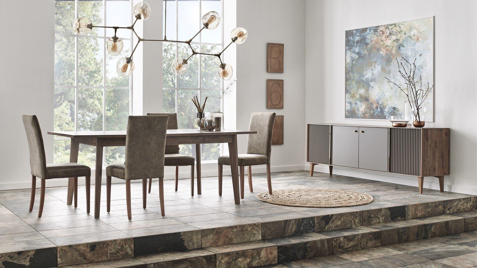 Set de mobila dining din pal, 6 piese Elita Natural imagine