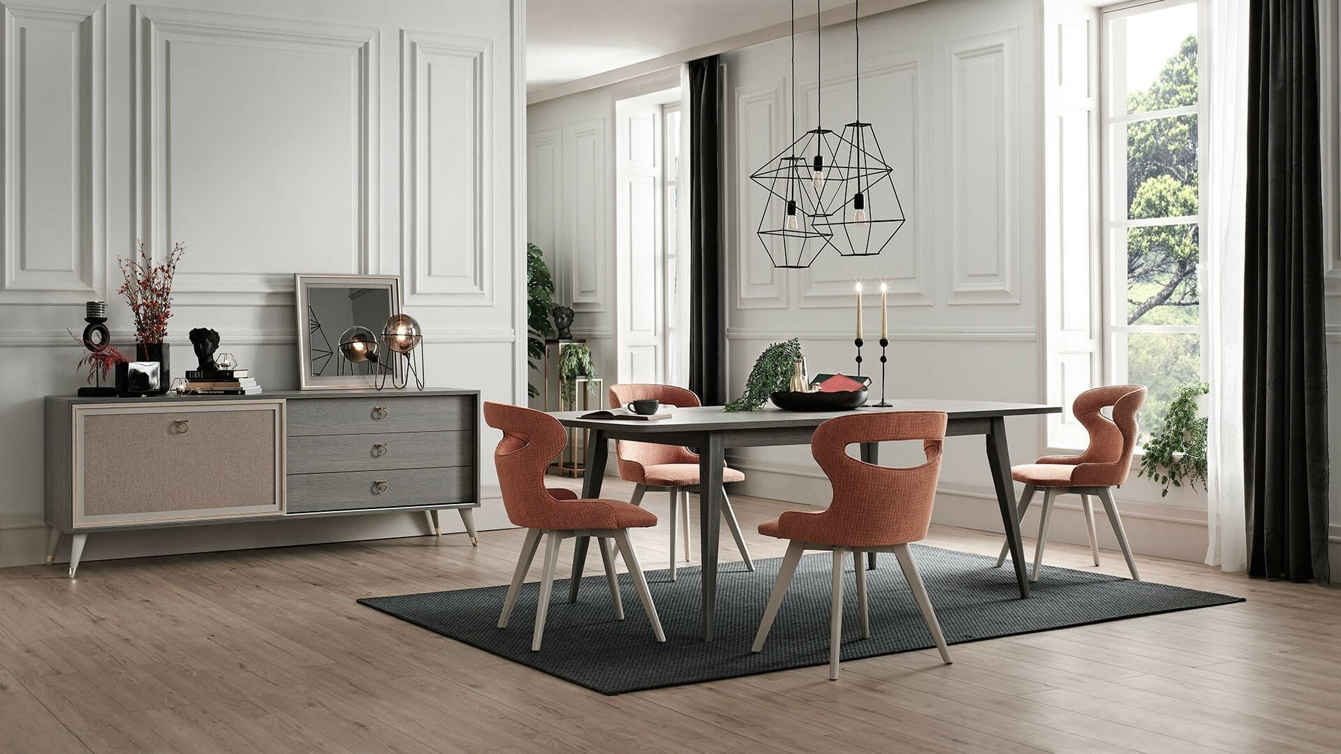 Set de mobila dining din pal, 7 piese Hector Stejar Antracit imagine