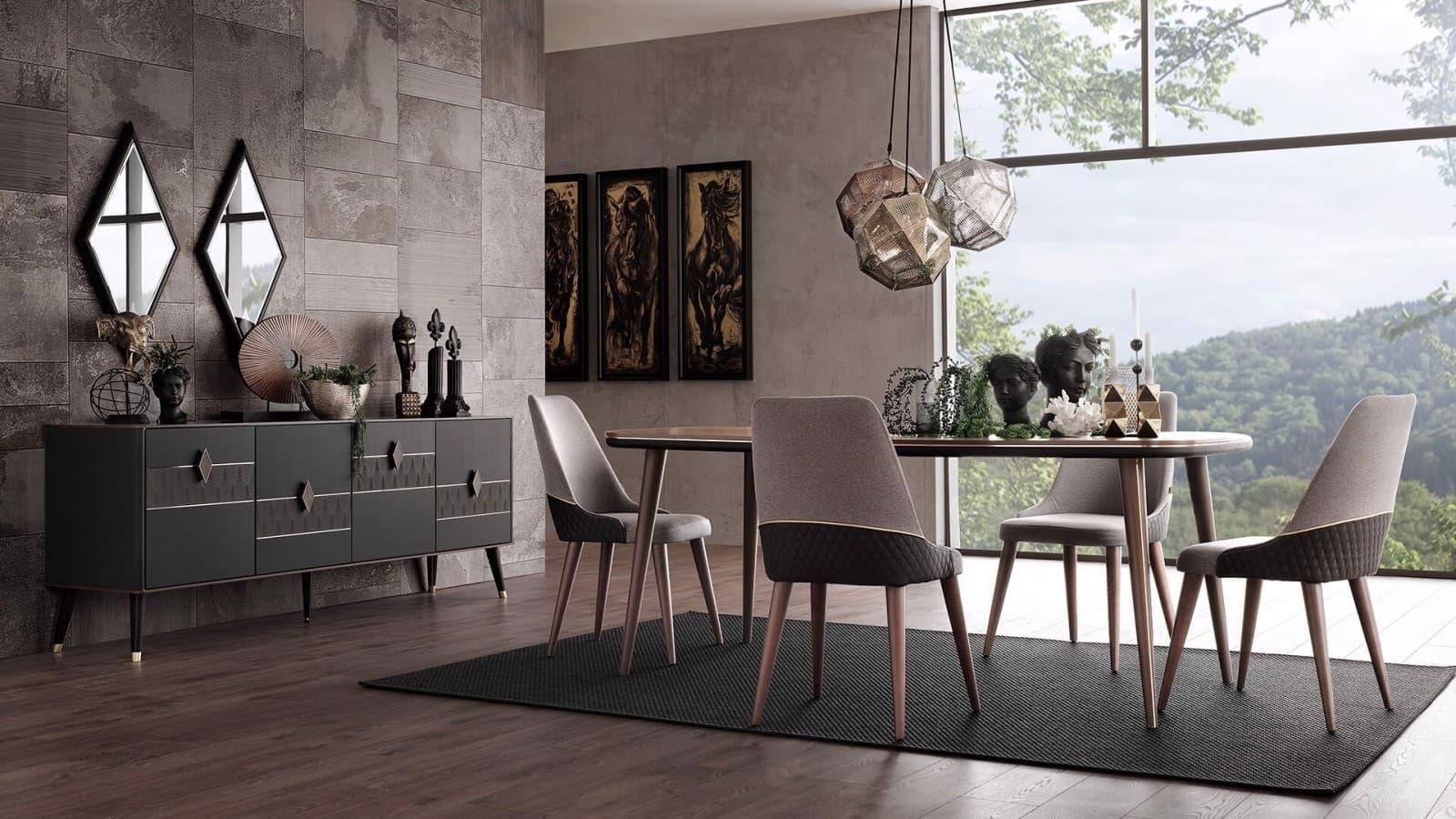 Set de mobila dining din pal, 8 piese Diamond Nuc / Grafit imagine