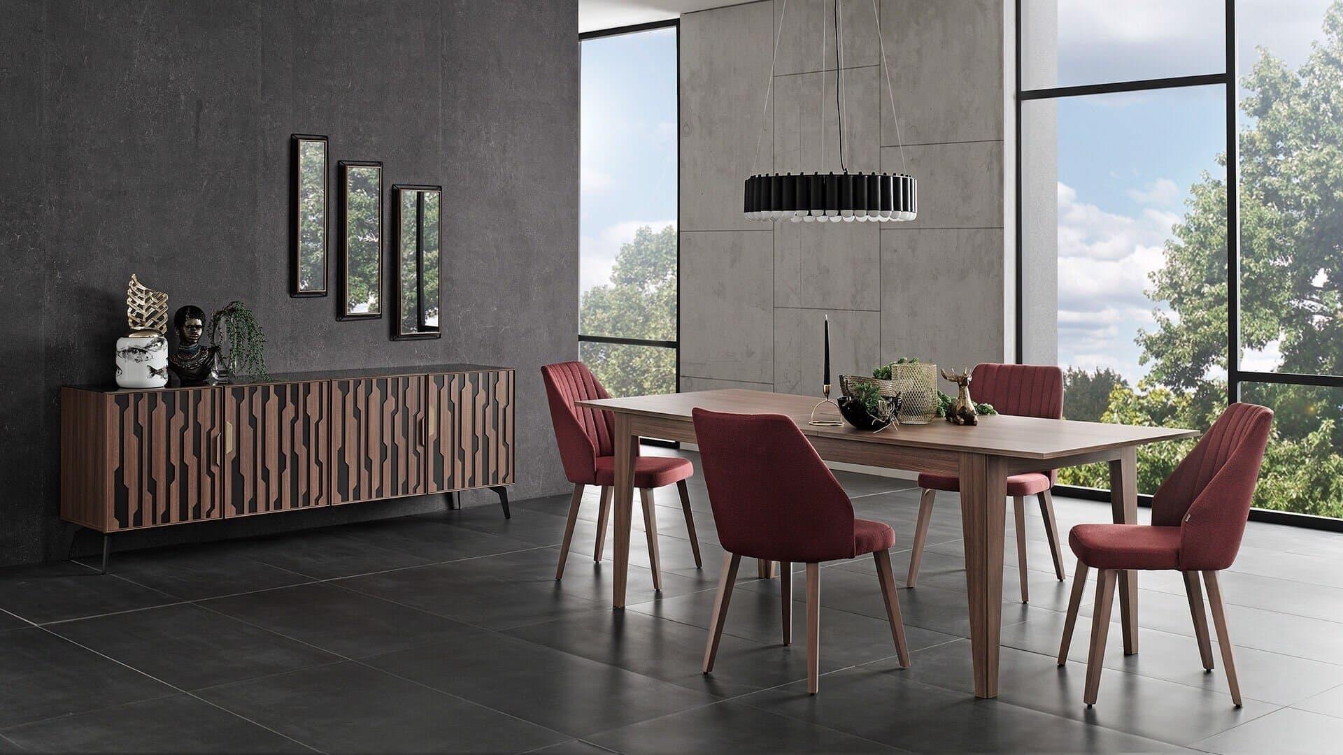 Set de mobila dining din pal, 9 piese Louisa Nuc / Negru imagine